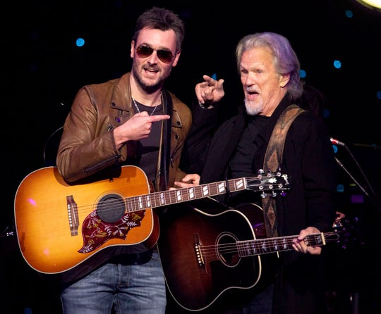 Eric Chruch greets Kris Kristofferson after they performed during the Willie: Life & Songs of an American Outlaw concert at Bridgestone Arena in Nashville, Tenn., Saturday, Jan. 12, 2019.