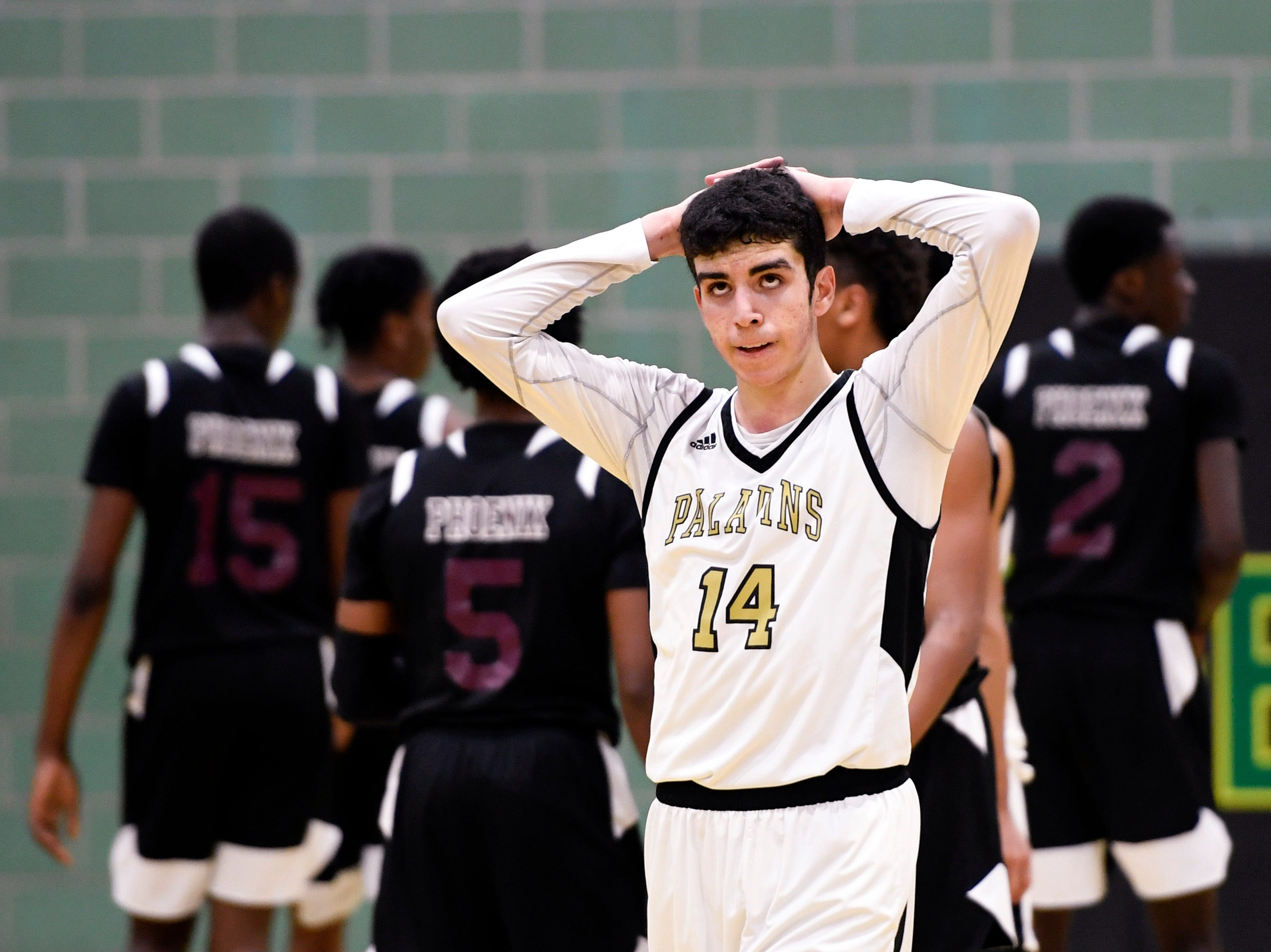 Paramus Catholic guard Cameron Burns reacts as his team falls to University 64-59 in Day 2 of the Public vs. Private Basketball Showcase at St. Joseph Regional on Sunday, Jan. 12, 2019, in Montvale.