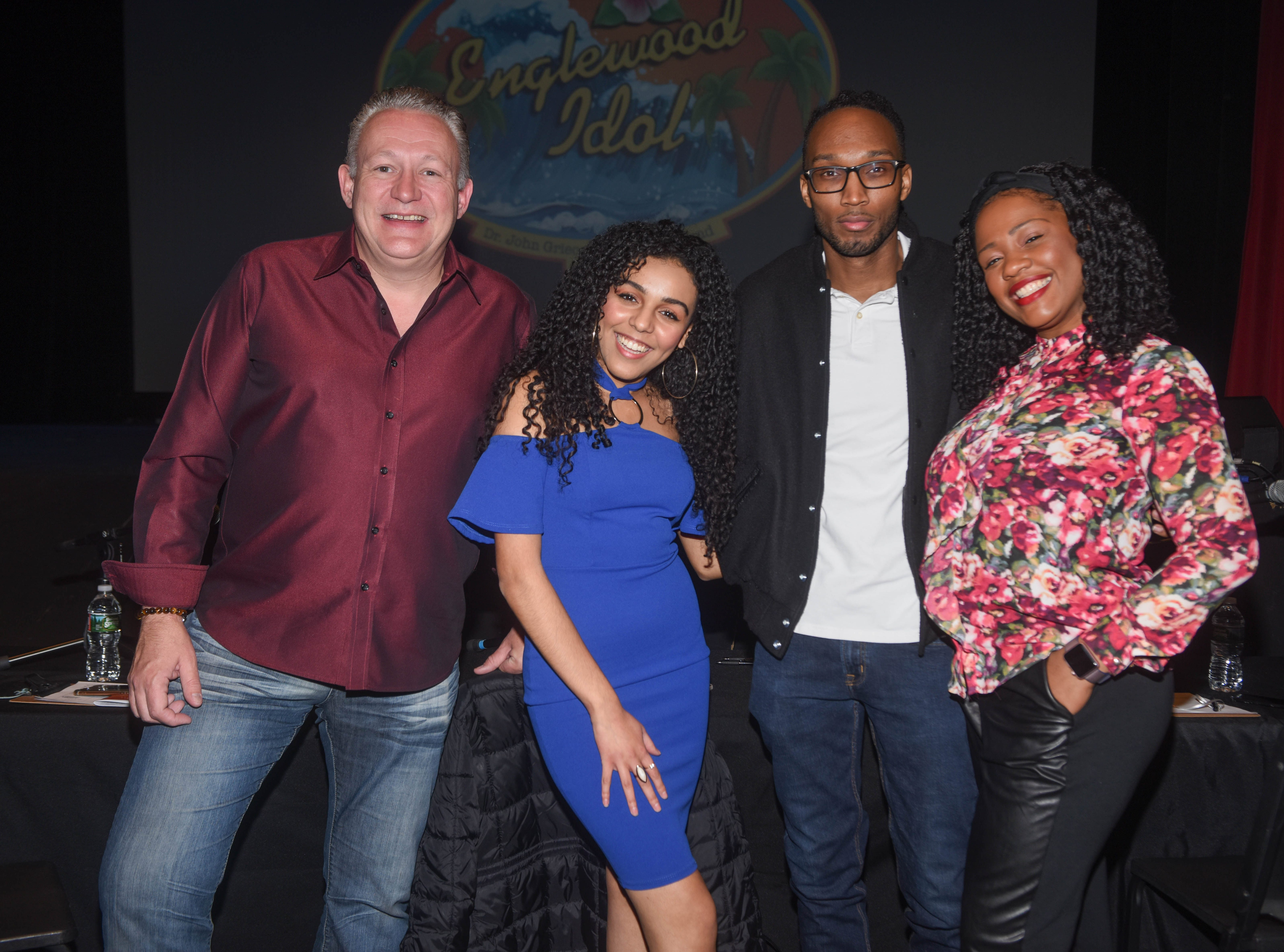 "The 2019 Englewood Idol Judges - Florian Bellanger (Food Network's Cupcake Wars), Josette Diaz (NBC's ""The Voice""), DJ Wallah (HOT 97) and Kia Thornton Miller (""American Idol.""/Divine). The 2019 Englewood Idol was held at bergenPAC theater. The singing competition is open to any high school student who currently lives or goes to school in Englewood, NJ. This years winner was Genesis Capellan. 01/11/2019"