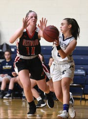 Northern Valley Old Tappan plays Westwood on Sunday, January 13, 2019 at IHA in Washington Twp.  Katy Gashler #11 plays tough defense on Isabella Giampaglia #2.