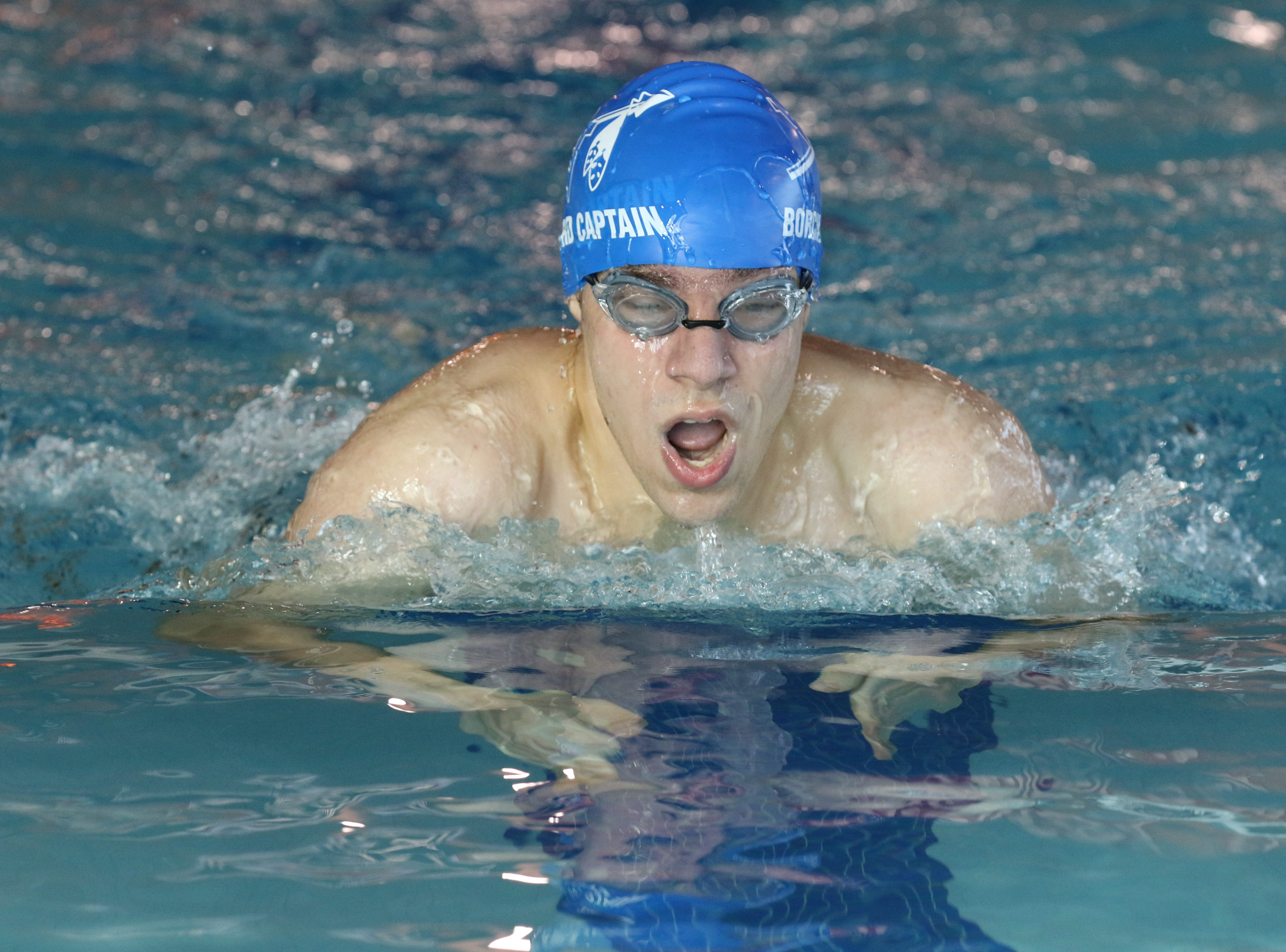 Brian Borchard of Wayne Valley does the breast stroke as he came in second place in the 200 Yard Individual Medley.