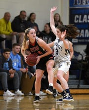 NV/Old Tappan point guard Noelle Gonzalez (3), shown guarding Westwood's Meghan Riedel (20) on Jan. 13, has been a lock-down defender for the 11-2 Golden Knights.