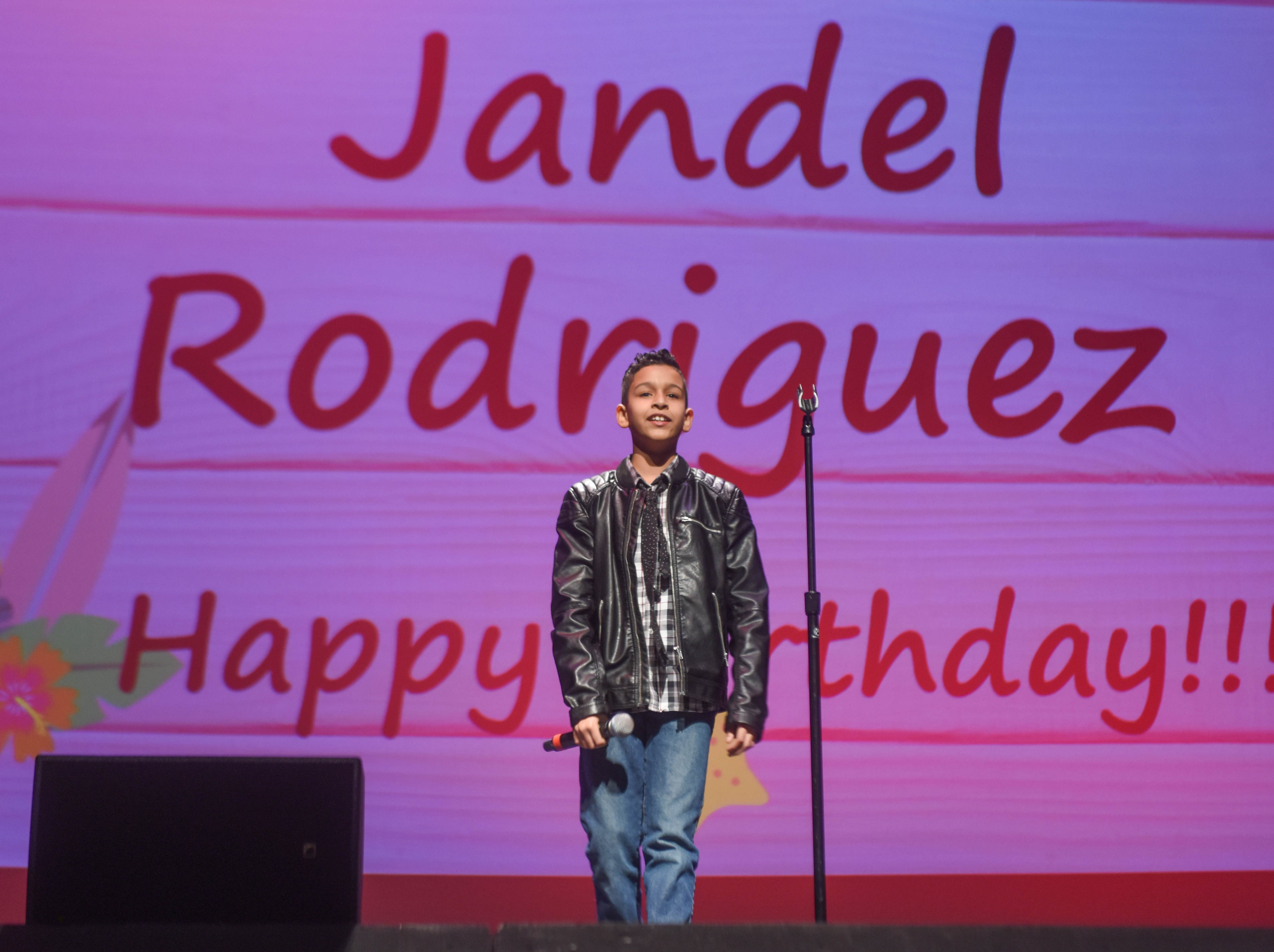 "5th grade ""Mini"" Idol: Jandel Rodriguez. The 2019 Englewood Idol was held at bergenPAC theater. The singing competition is open to any high school student who currently lives or goes to school in Englewood, NJ. This years winner was Genesis Capellan. 01/11/2019"