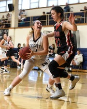 NV/Old Tappan plays Westwood on Sunday, Jan. 13, 2019 at IHA in Washington Twp. Jackie Kelly #4 drives to the basket while under pressure by by Rachel Bussanich #22.