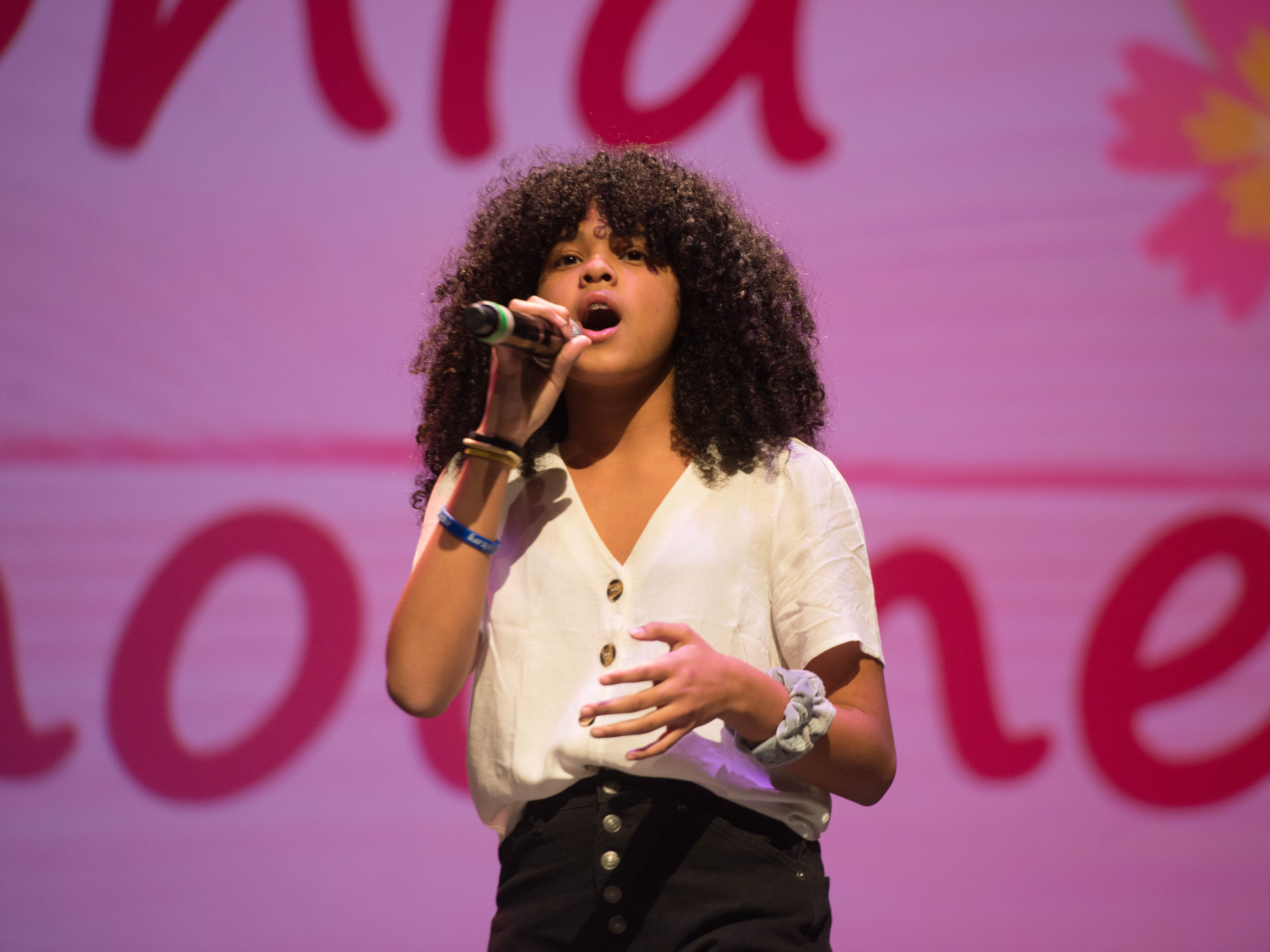 "7th grade ""Junior"" Idol: Sophia Chounoune. The 2019 Englewood Idol was held at bergenPAC theater. The singing competition is open to any high school student who currently lives or goes to school in Englewood, NJ. This years winner was Genesis Capellan. 01/11/2019"