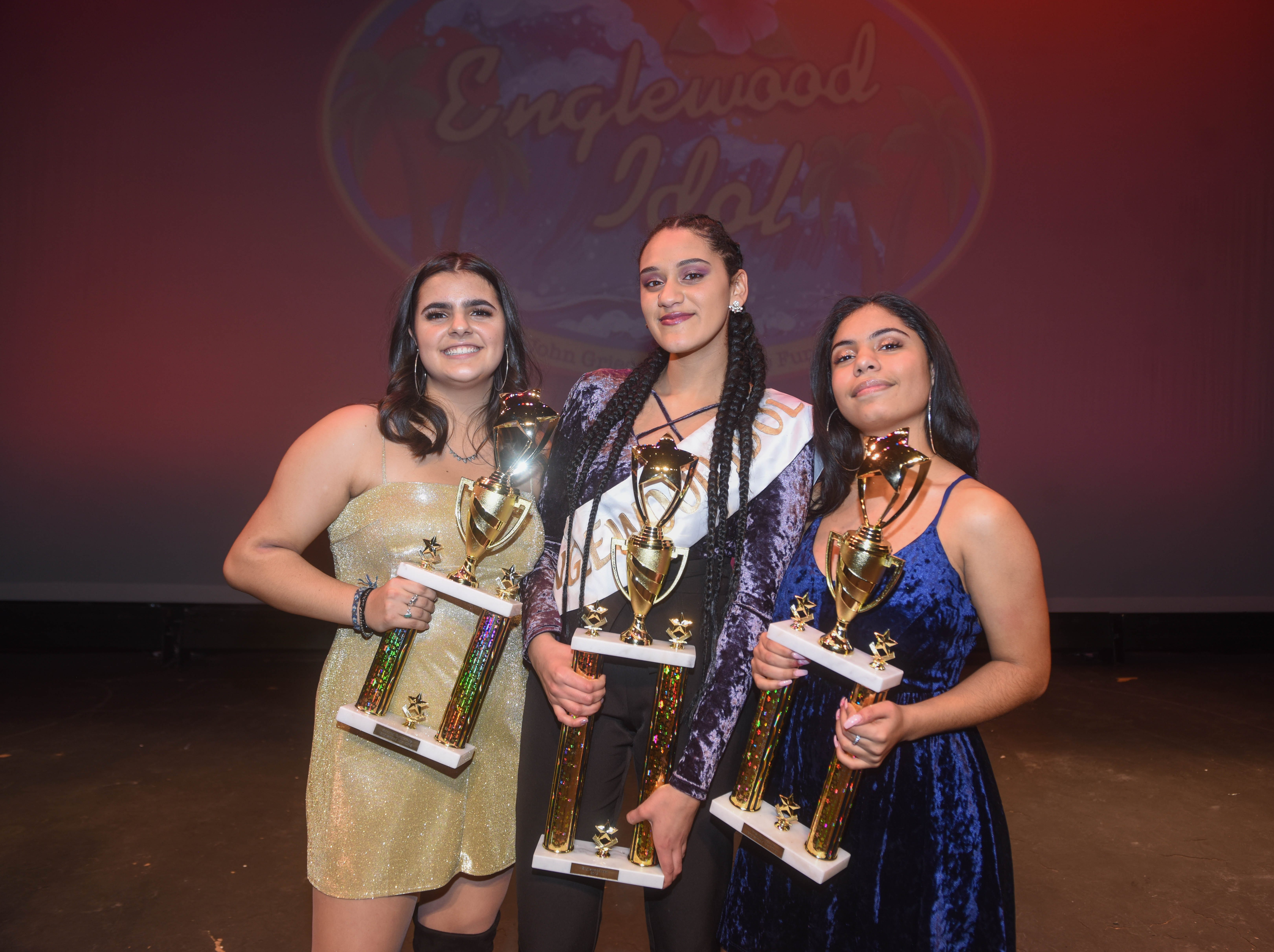 Lena Graf (2019 Englewood Idol Second Runner Up), Genesis Capellan (2019 Englewood Idol Winner) and Patricia Parker (2019 Englewood Idol First Runner Up). The 2019 Englewood Idol was held at bergenPAC theater. The singing competition is open to any high school student who currently lives or goes to school in Englewood, NJ. This years winner was Genesis Capellan. 01/11/2019