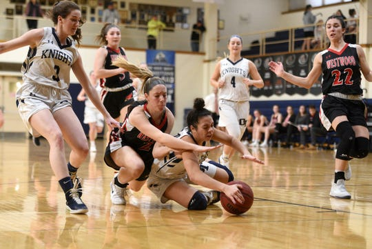 JoJo Corrubia (2, diving for ball), Samantha Bussanich (22) and Hannah Jackson (5) have helped the Westwood girls basketball team reach its third straight North 1, Group 2 final.