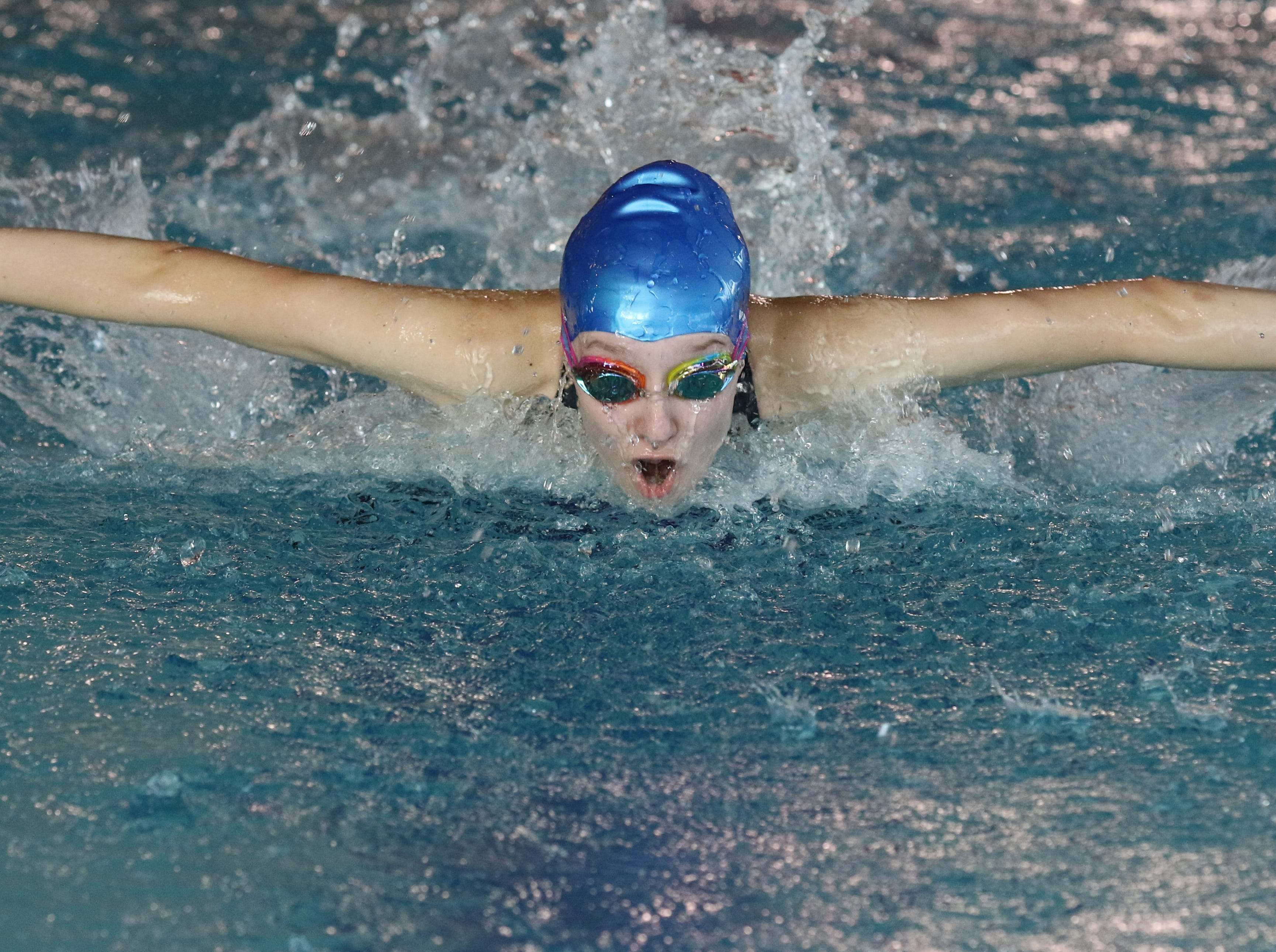 Julia Bartoszewicz of Passaic Tech does the butterfly portion of the 200 Yard Individual Medley.