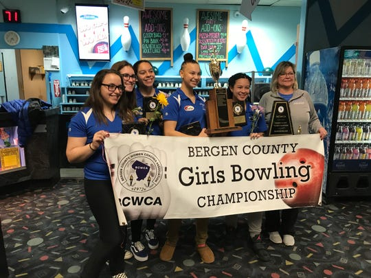 Teaneck captured its first Bergen County girls bowling championship on Saturday, Jan. 12, 2019 at Bowler City in Hackensack. From left: Mia Aish, Sophie Stahl, Shayna Jimenez, Margaux Lesser, Tyana Wynter and coach Stephanie Baer.