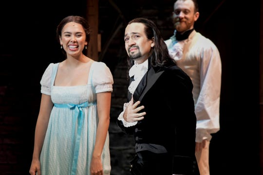 Lin-Manuel Miranda, composer and creator of the award-winning Broadway musical, Hamilton, receives a standing ovation with tears at the ending of the play's premiere held at the Santurce Fine Arts Center, in San Juan, Puerto Rico, Friday Jan. 11, 2019. The musical is set to run for two weeks and will raise money for local arts programs.