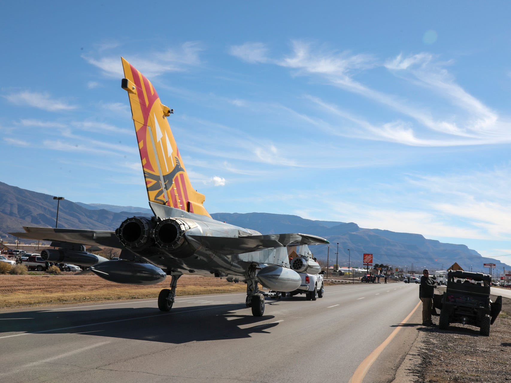 The Tornado jet being towed towards Alamogordo, N.M. on U.S. Highway 54/70 Saturday, Jan. 12, 2019.