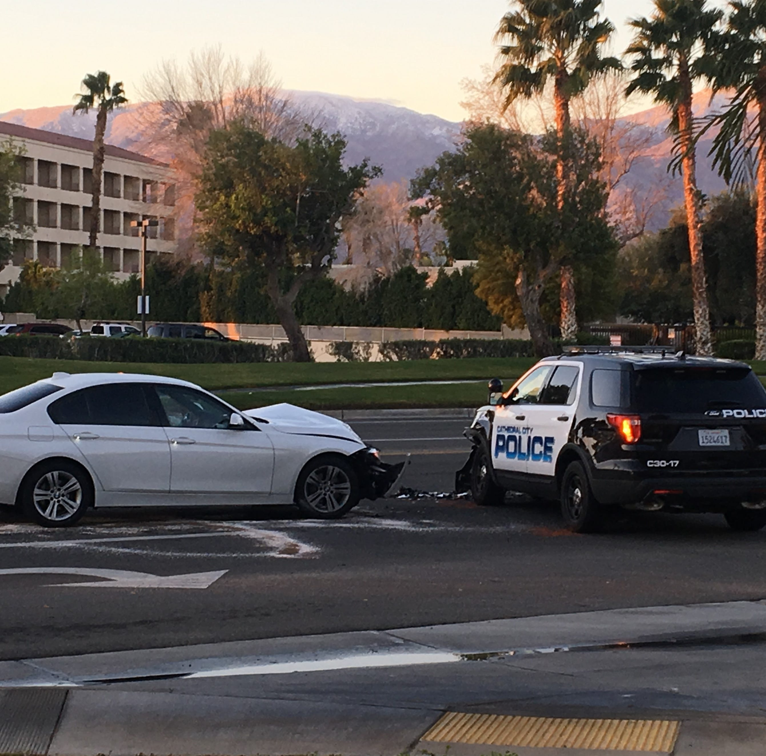 Cathedral City police officer involved in collision on Vista Chino