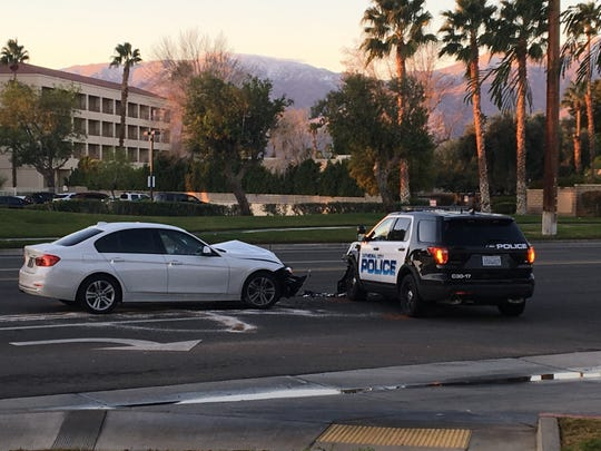 A Cathedral City police unit was involved in a collision on Vista Chino Sunday morning. Police say there were no major injuries.