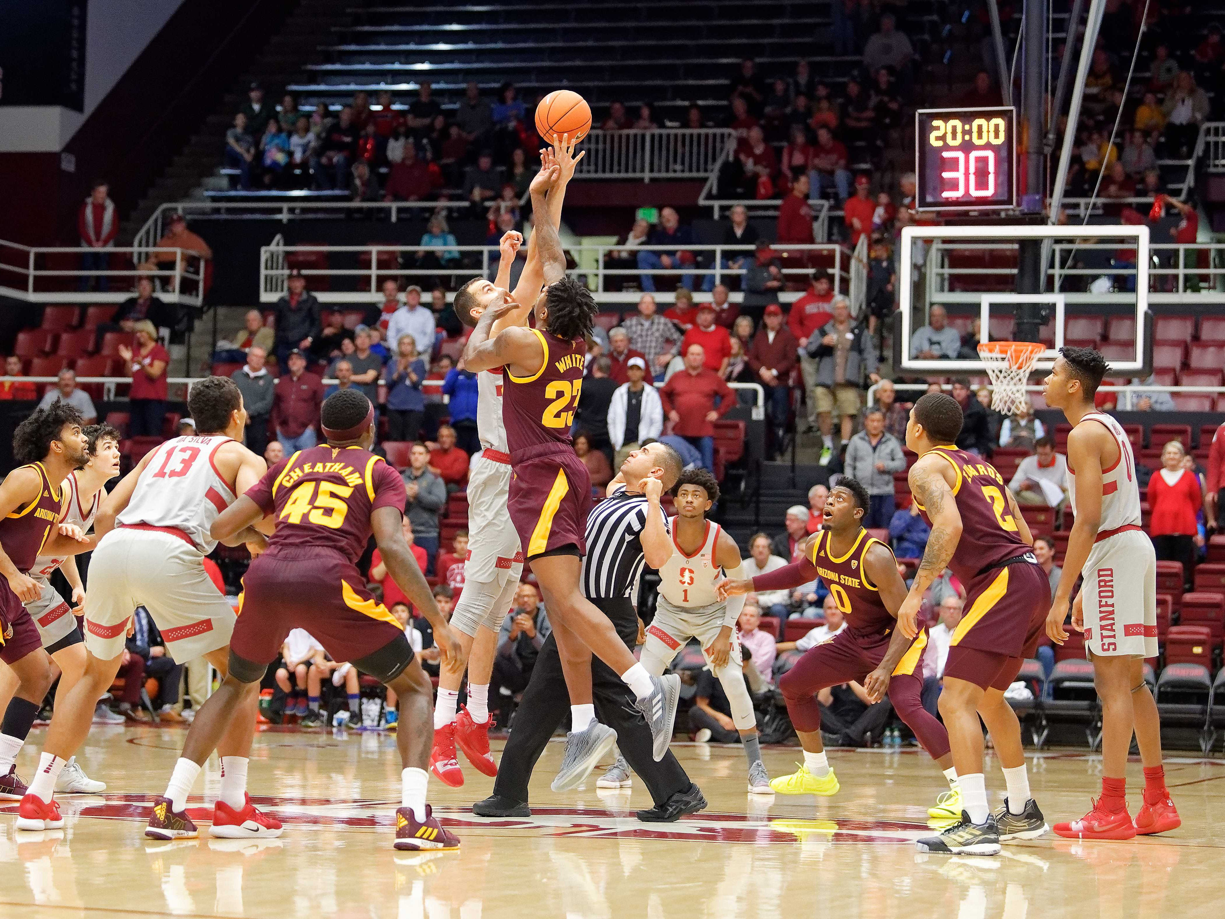 Jan 12, 2019; Stanford, CA, USA; Stanford Cardinal and Arizona State Sun Devils opening tip-off at Maples Pavilion. Mandatory Credit: Robert Edwards-USA TODAY Sports
