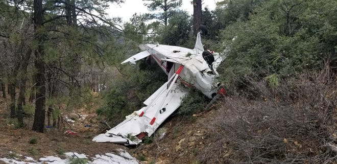 The plane crashed in rugged terrain near the Hualapai Mountains at around 11:45 a.m. on Sunday, Jan. 13, 2019.