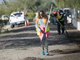 Robin Elerick (center) helps clean Grand Canal Linear Park as part of the Phoenix Rescue Mission's Glendale Works program on Jan. 7, 2019 in Glendale, Arizona.