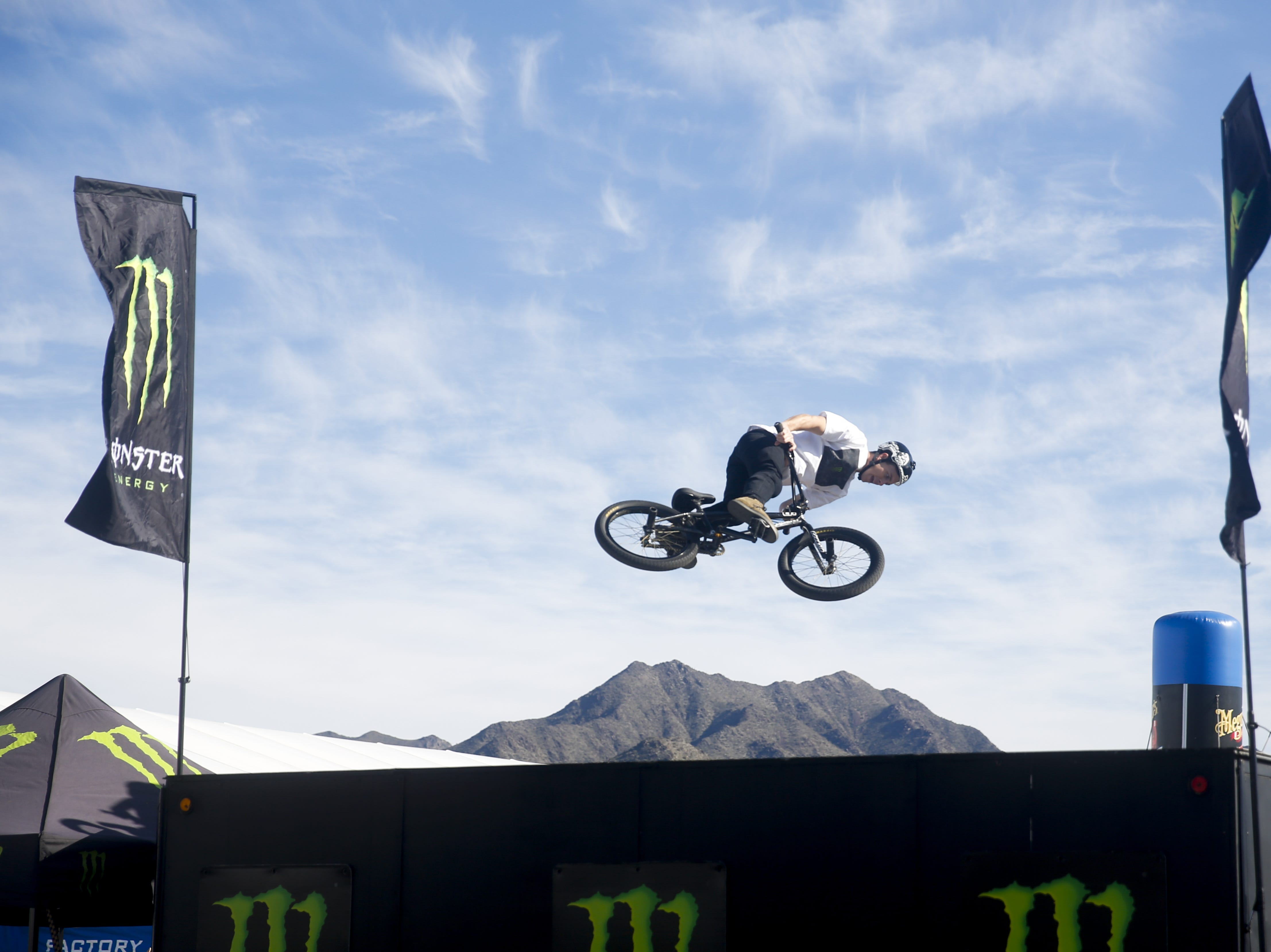 Jared Eberwein performs in the Monster Energy BMX show at the Barrett-Jackson Car Auction on Jan. 12, the first day of the event.