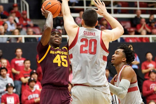Jan 12, 2019: Arizona State Sun Devils forward Zylan Cheatham (45) shoots the ball in the first half of the Stanford Cardinal vs Arizona State Sun Devils basketball game at Maples Pavilion.