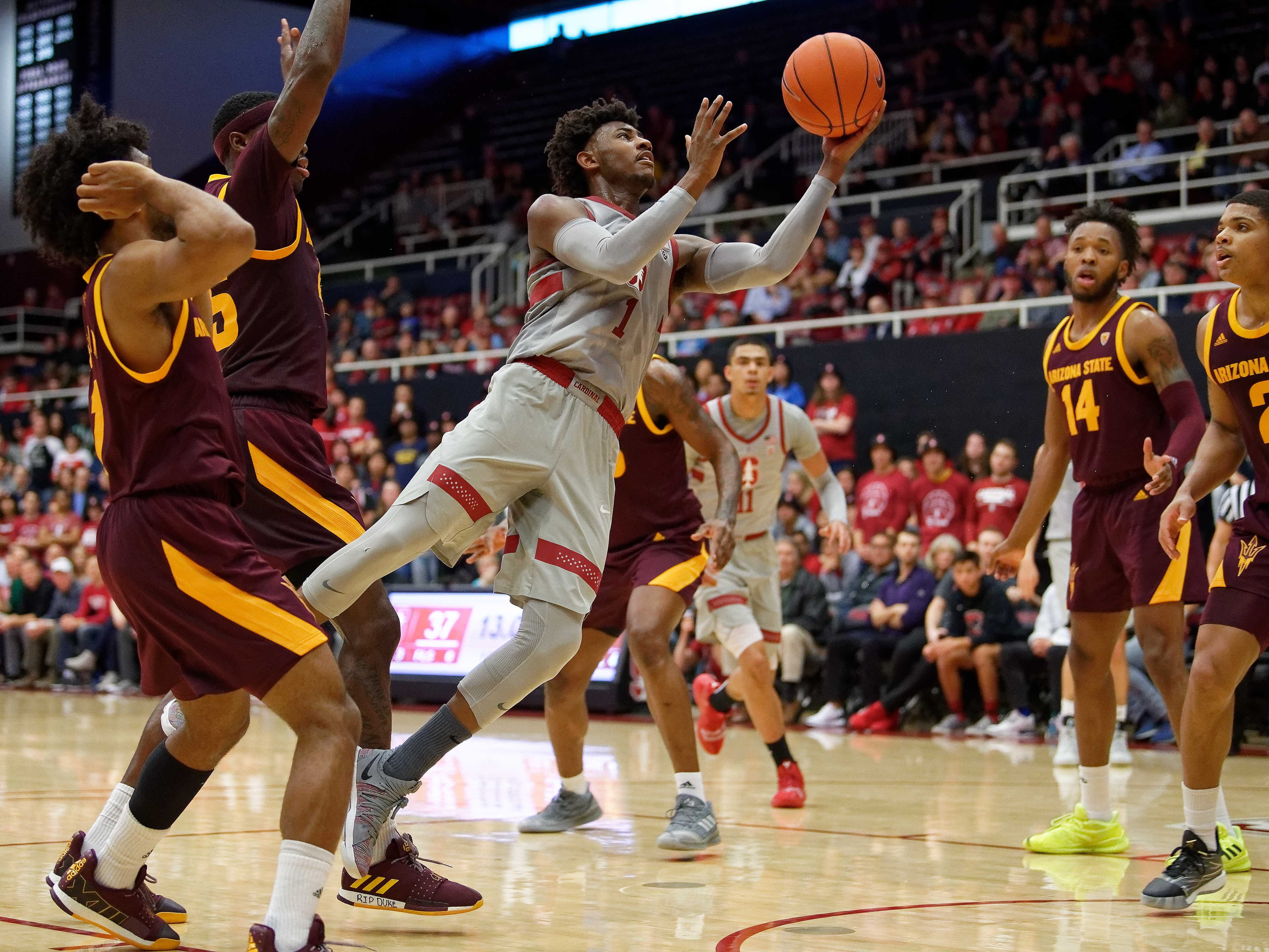 Jan 12, 2019; Stanford, CA, USA; Stanford Cardinal guard Daejon Davis (1) drives to the basket during the first half of the Stanford Cardinal vs Arizona State Sun Devils basketball game at Maples Pavilion. Mandatory Credit: Robert Edwards-USA TODAY Sports
