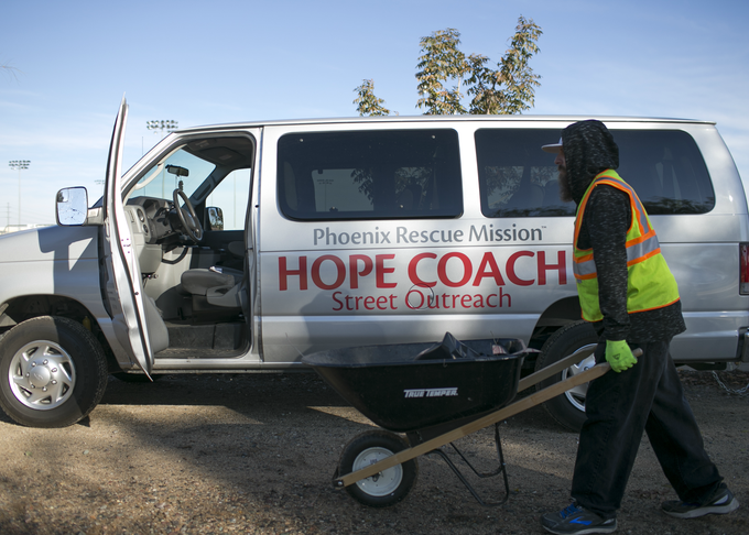 The Phoenix Rescue Mission Hope Coach Street Outreach van sits at the Grand Canal Linear Park during the Phoenix Rescue Mission's Glendale Works program on Jan. 7, 2019 in Glendale, Arizona.