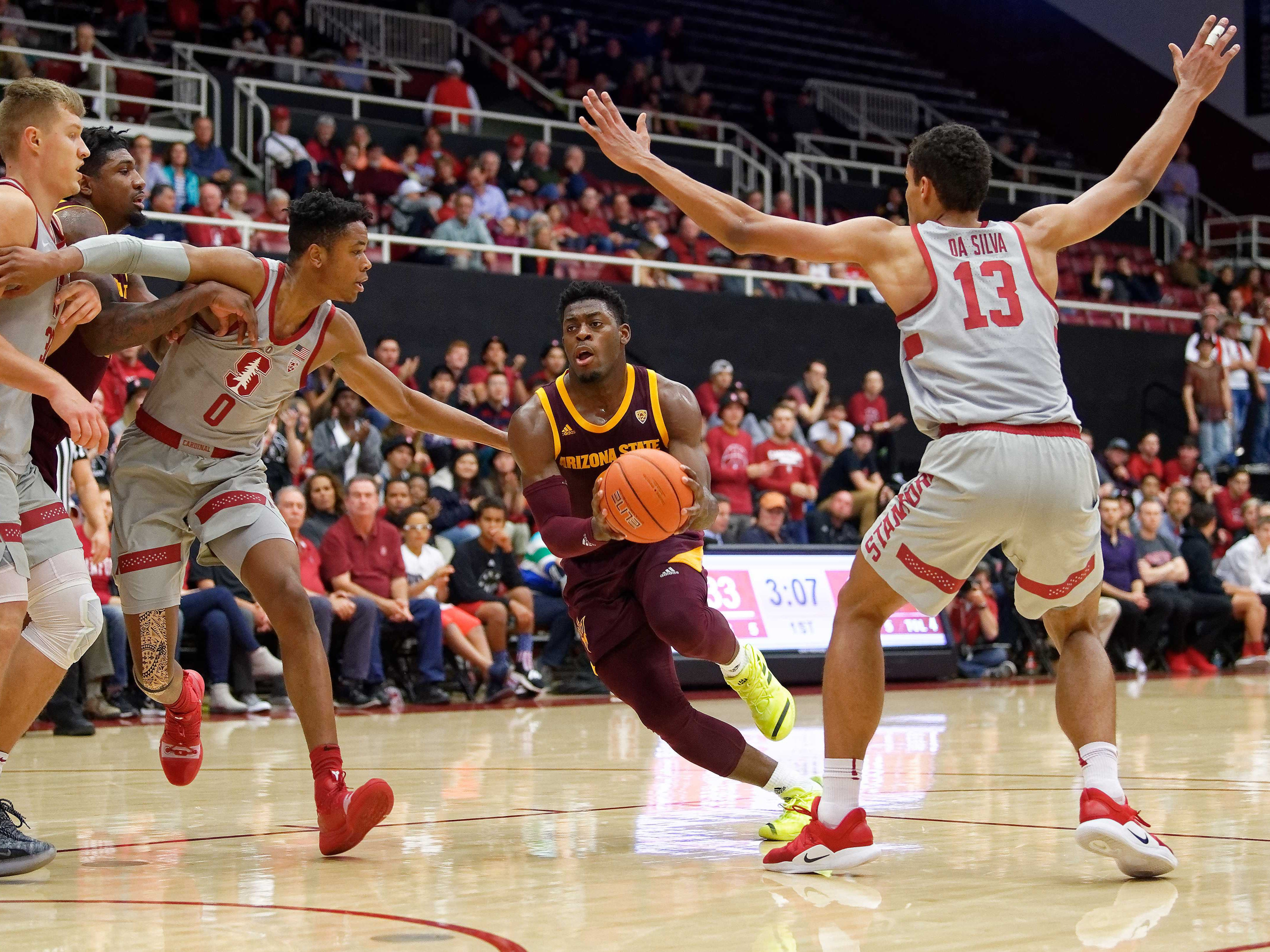 Jan 12, 2019; Stanford, CA, USA; Arizona State Sun Devils guard Luguentz Dort (0) drives to the basket during the first half of the Stanford Cardinal vs Arizona State Sun Devils basketball game at Maples Pavilion. Mandatory Credit: Robert Edwards-USA TODAY Sports