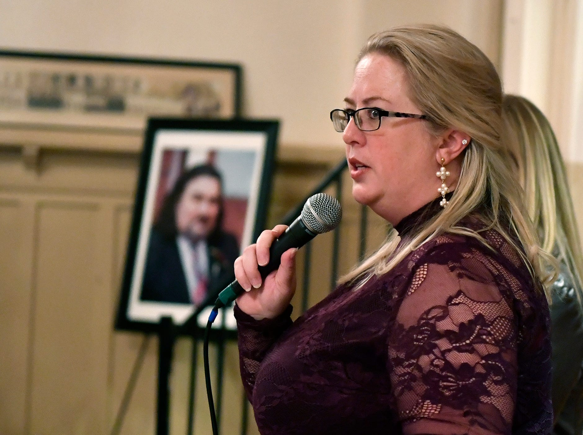 Korey Knight thanks family and friends who gather to celebrate the life of Douglas Knight, Saturday, January 11, 2019 at the Elk's Club in York.