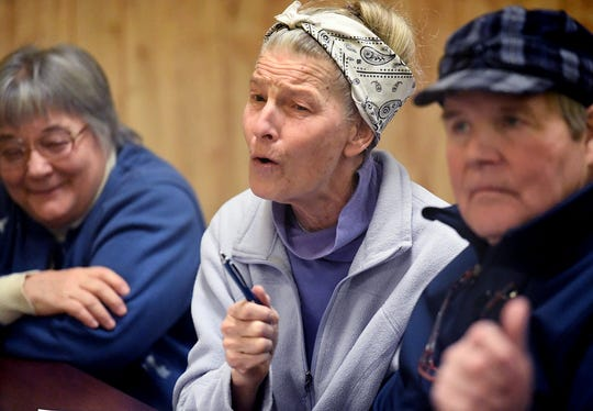 Sonnewald Foods Natural Foods owner Willa Lefever comments during a break-out session at a York Stands Up meeting at Goodwill Fire Hall in Jacobus Sunday, Jan. 13, 2019. Former U.S. House District candidate Jess King, who lost in November's election to Lloyd Smucker, spoke at the meeting. Bill Kalina photo
