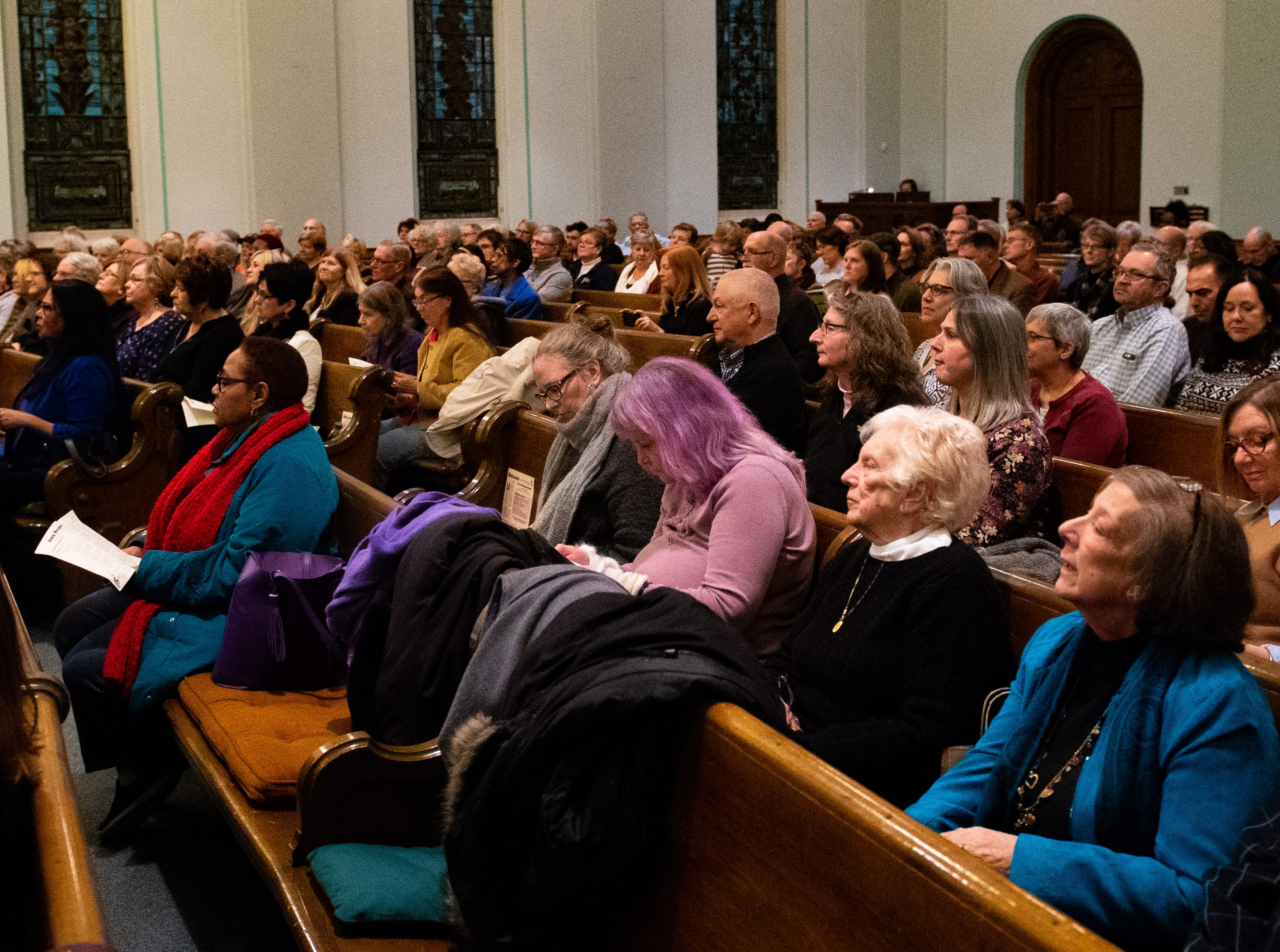 Hundreds of Yorkers sit listening to the featured band playing soulful songs during the 21st annual Jazz Vespers concert at First Presbyterian Church in York, January 12, 2019.