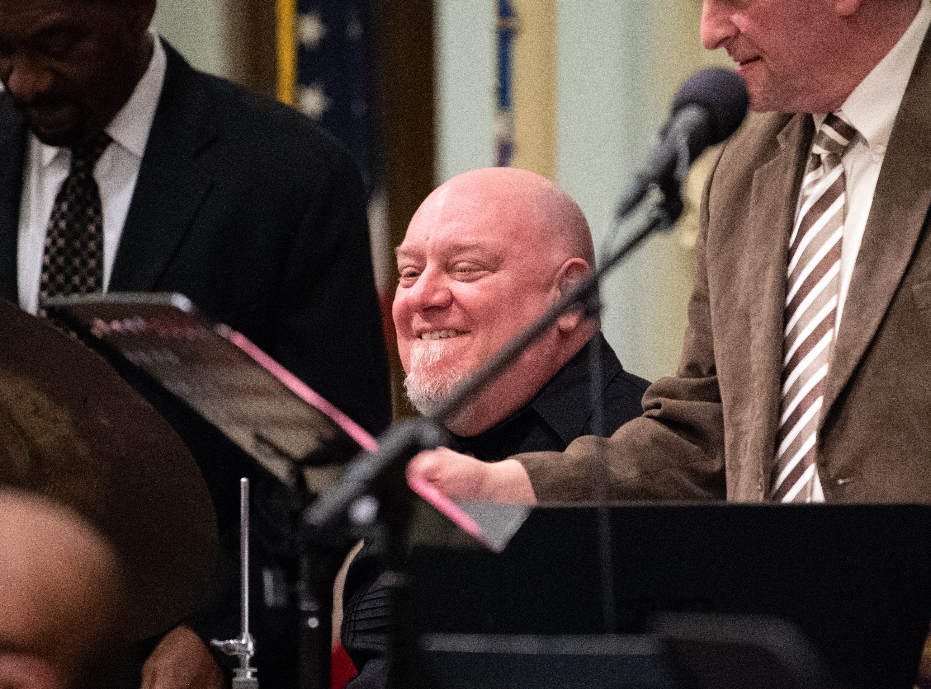 Drum player Jeff Stabley keeps the beat during the 21st annual Jazz Vespers concert at First Presbyterian Church in York, January 12, 2019.