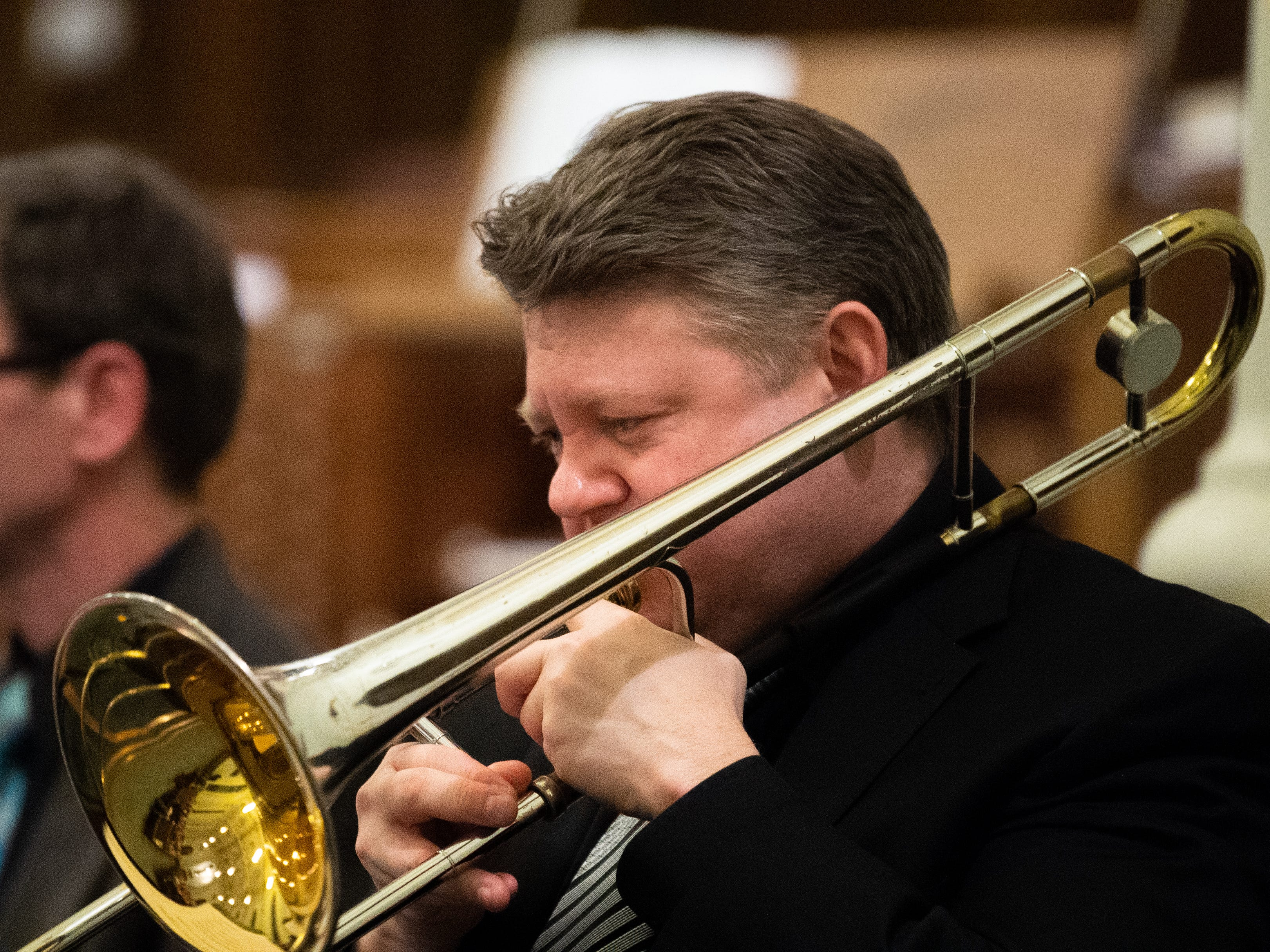 Trombone player Don Collins hits every note during the 21st annual Jazz Vespers concert at First Presbyterian Church in York, January 12, 2019.