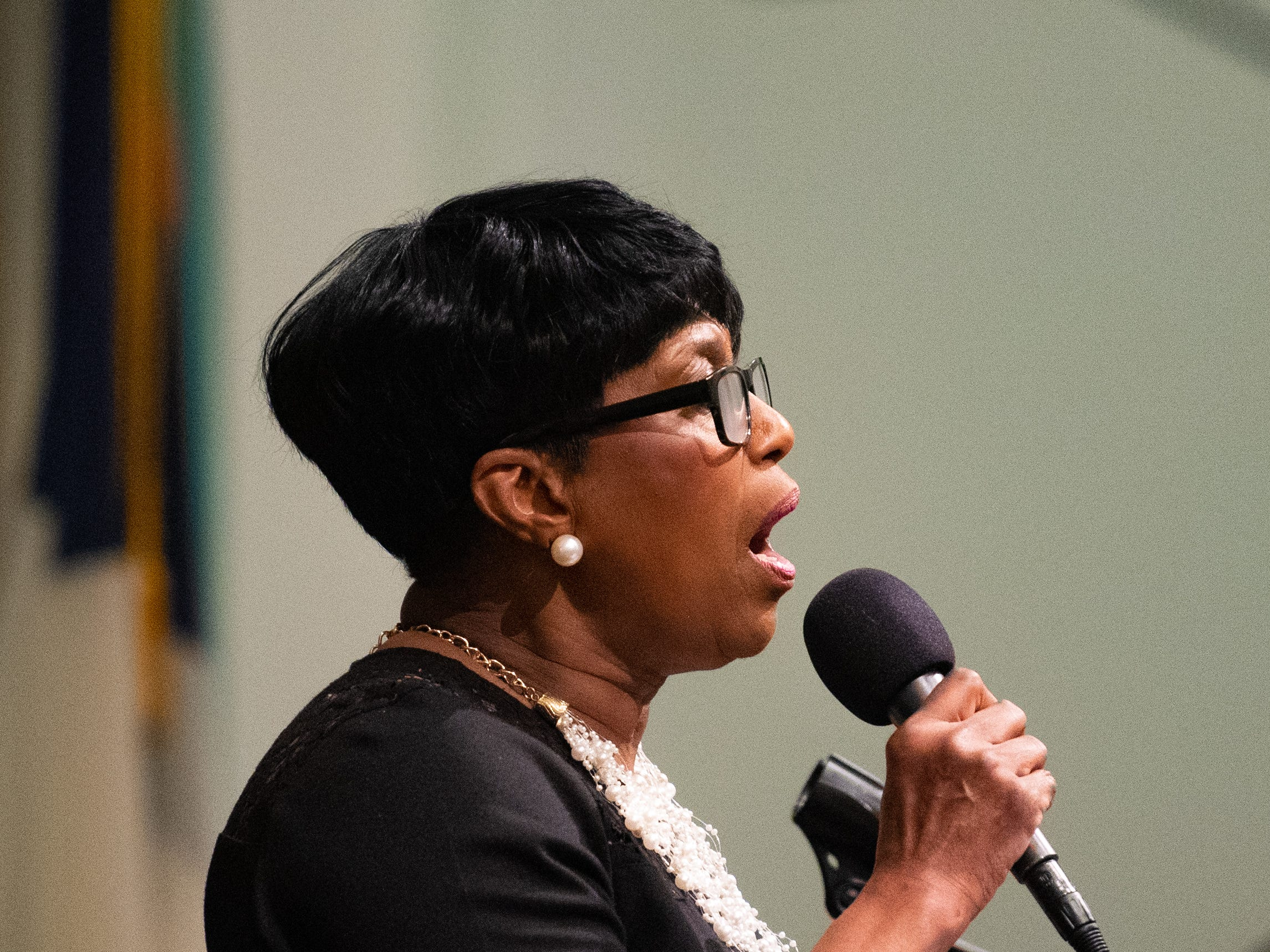 "Vocalist Diane Wilson-Bedford leads the crowd in singing ""Lift Ev'ry Voice And Sing"" during the 21st annual Jazz Vespers concert at First Presbyterian Church in York, January 12, 2019."