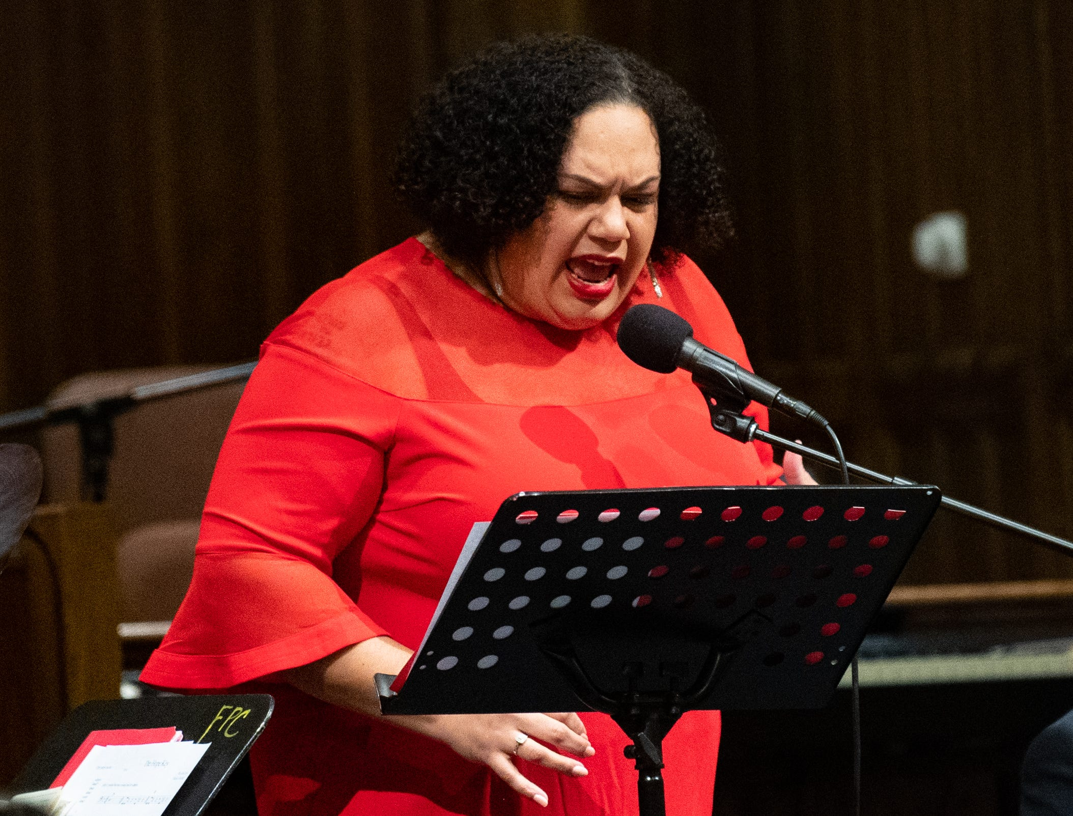 Former Poet Laureate Carla Christopher shares a powerful poem during the 21st annual Jazz Vespers concert at First Presbyterian Church in York, January 12, 2019.