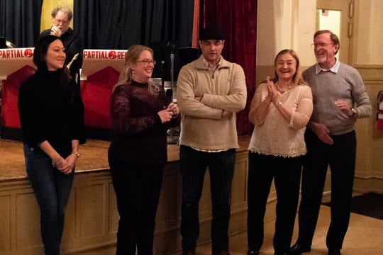 (Left to right) Douglas Knight's sister Logan Leonhardt, his wife Korey Knight, his brother Greg Knight, his mother Judy (Sasala) and Everett Nichols thank everyone for coming out to celebrate Doug's life at the Elks Lodge, January 12, 2019.
