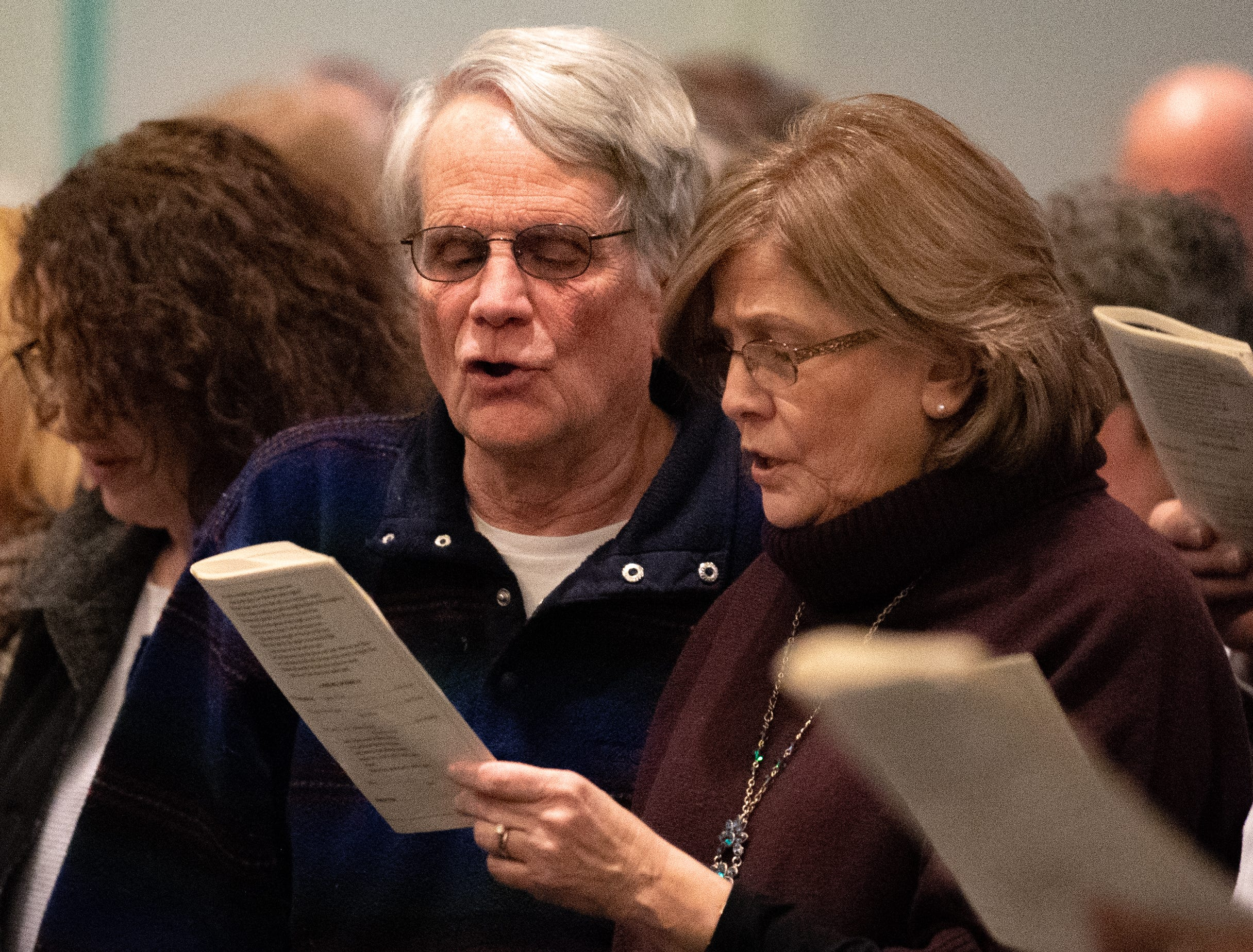 "The crowd sings along to ""Lift Ev'ry Voice And Sing"" during the 21st annual Jazz Vespers concert at First Presbyterian Church in York, January 12, 2019."