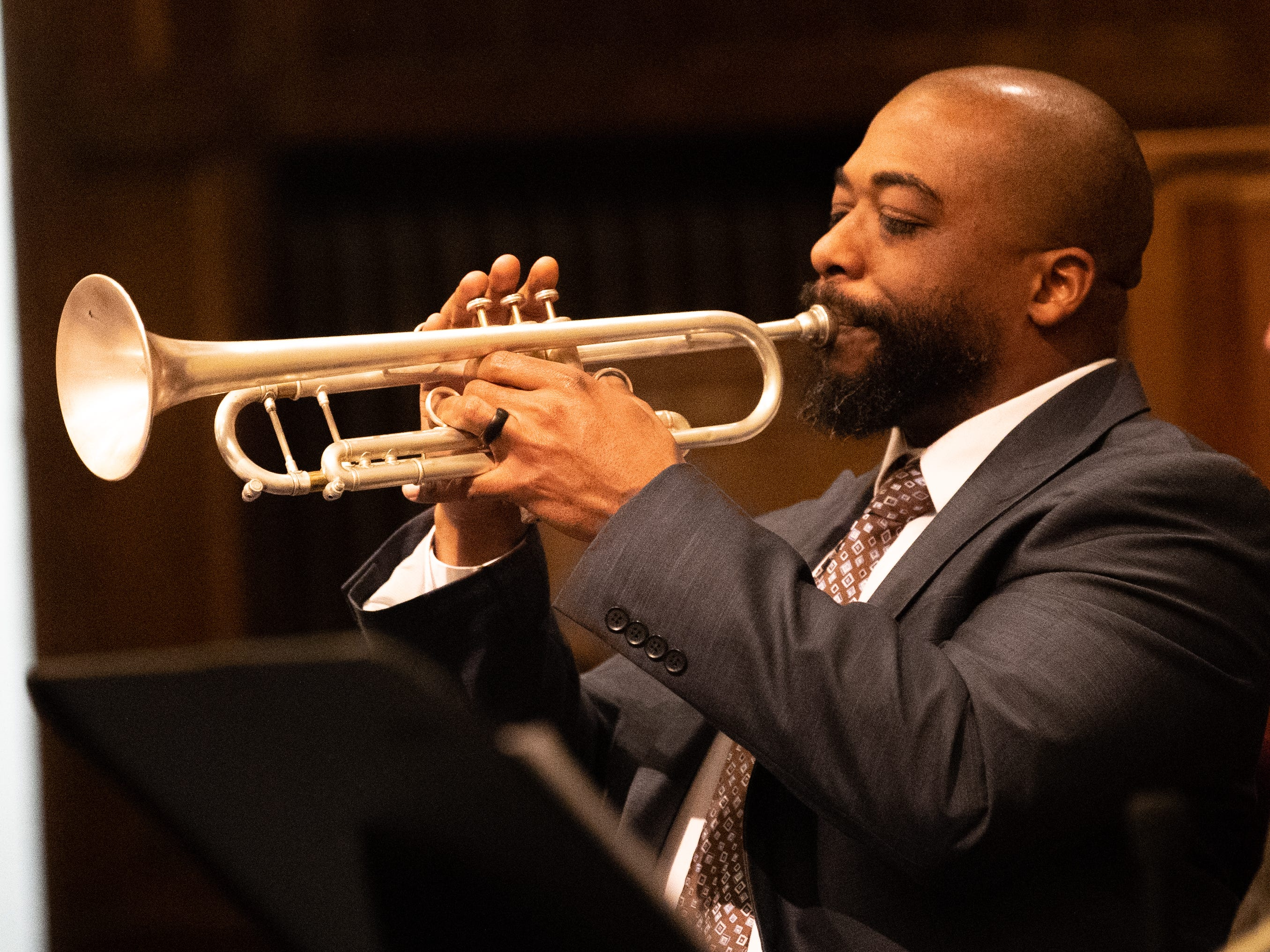 Tim Thompson plays the trumpet during the 21st annual Jazz Vespers concert at First Presbyterian Church in York, January 12, 2019.
