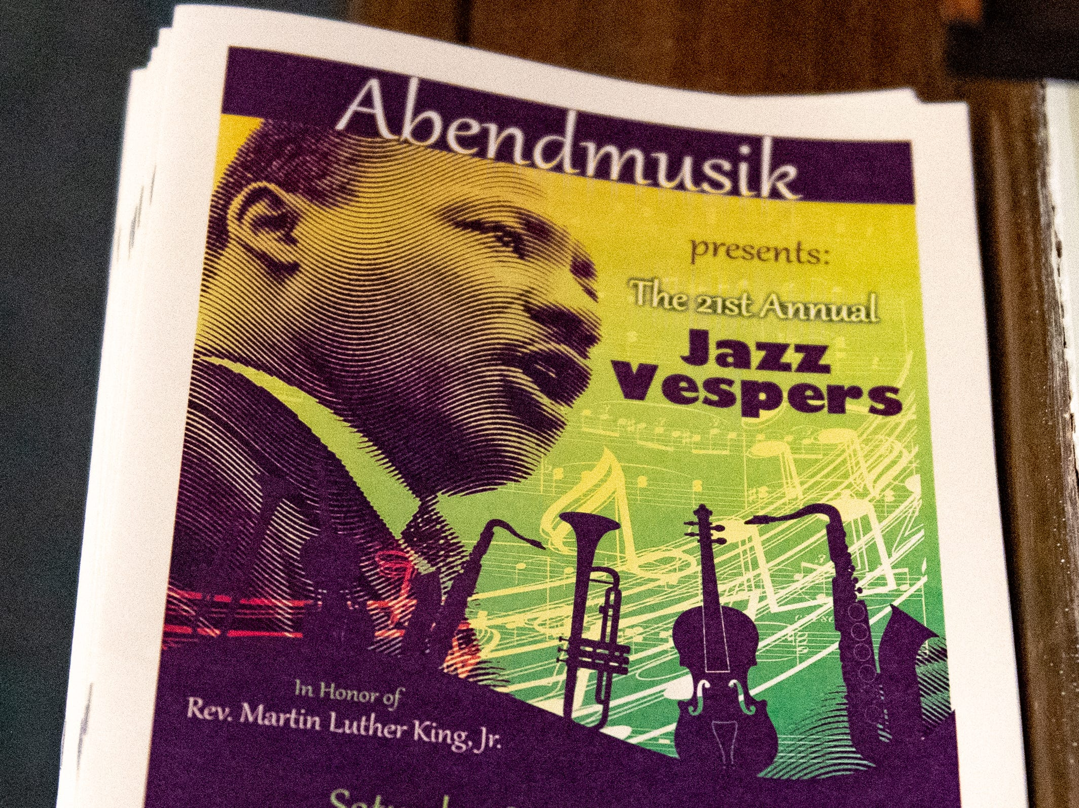 Each guest receives a detailed program that lists the band members and lyrics to songs so the crowd can sing along  during the 21st annual Jazz Vespers concert at First Presbyterian Church in York, January 12, 2019.