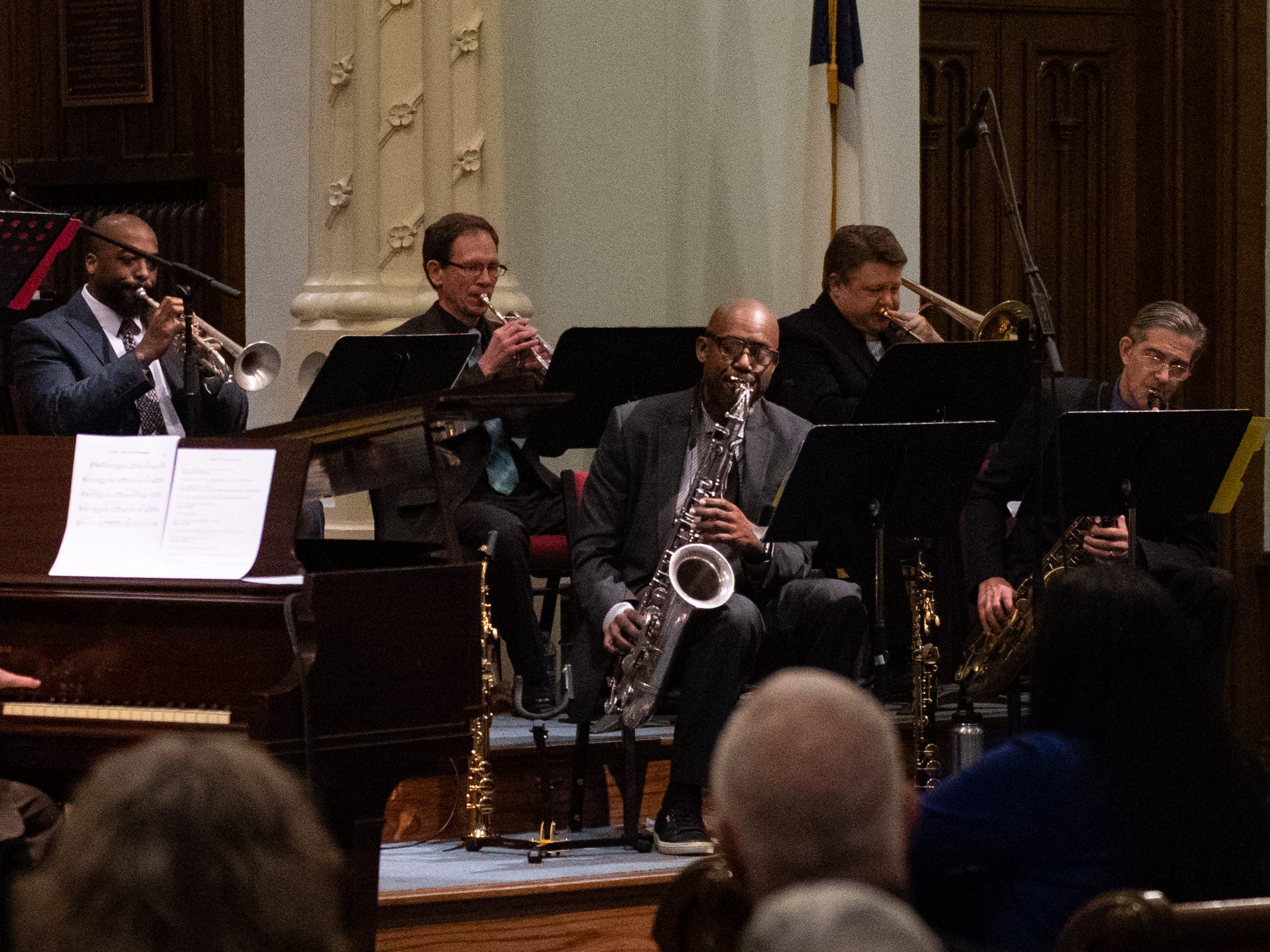 The band plays one song after another, briefly pausing in between to take in the applause of the audience during the 21st annual Jazz Vespers concert at First Presbyterian Church in York, January 12, 2019.