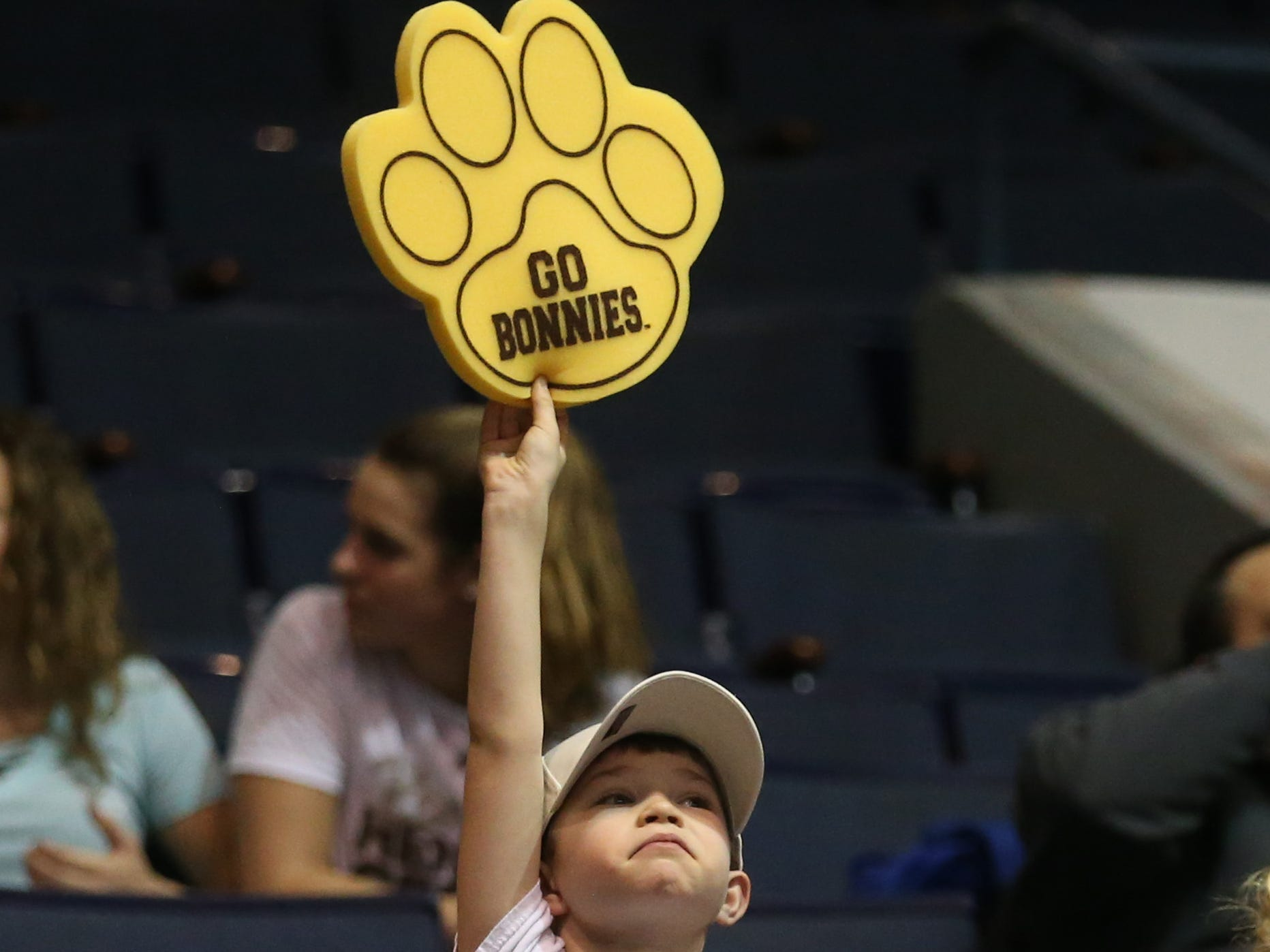 St. Bonaventure's super fan Aiden Lair, 7, Webster, shows his support for the team.