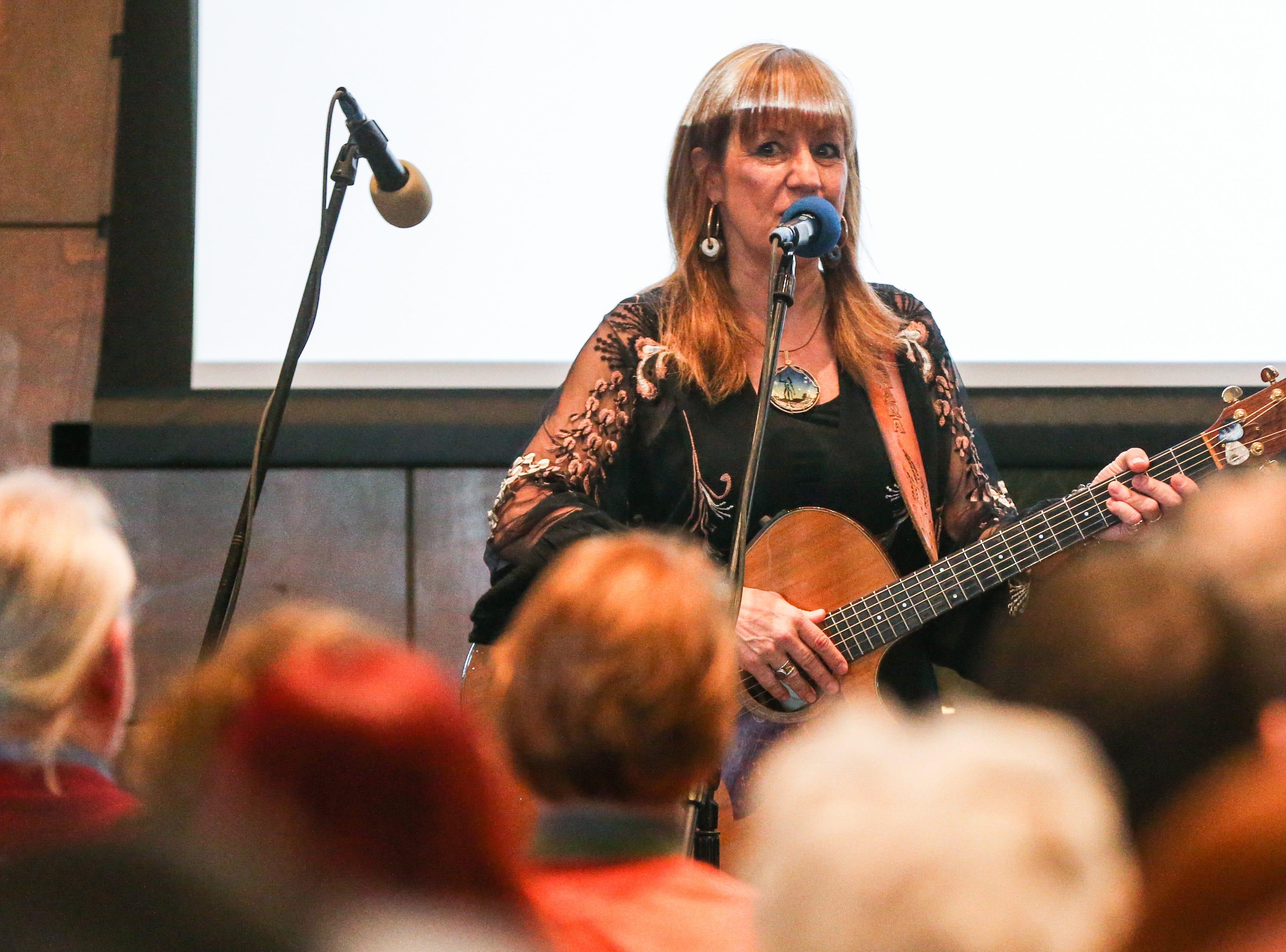 Tamara Laney sings during the Celebration of Spirit for Roger Allen Sunday, Jan. 13, 2019, at San Angelo Museum of Fine Arts.