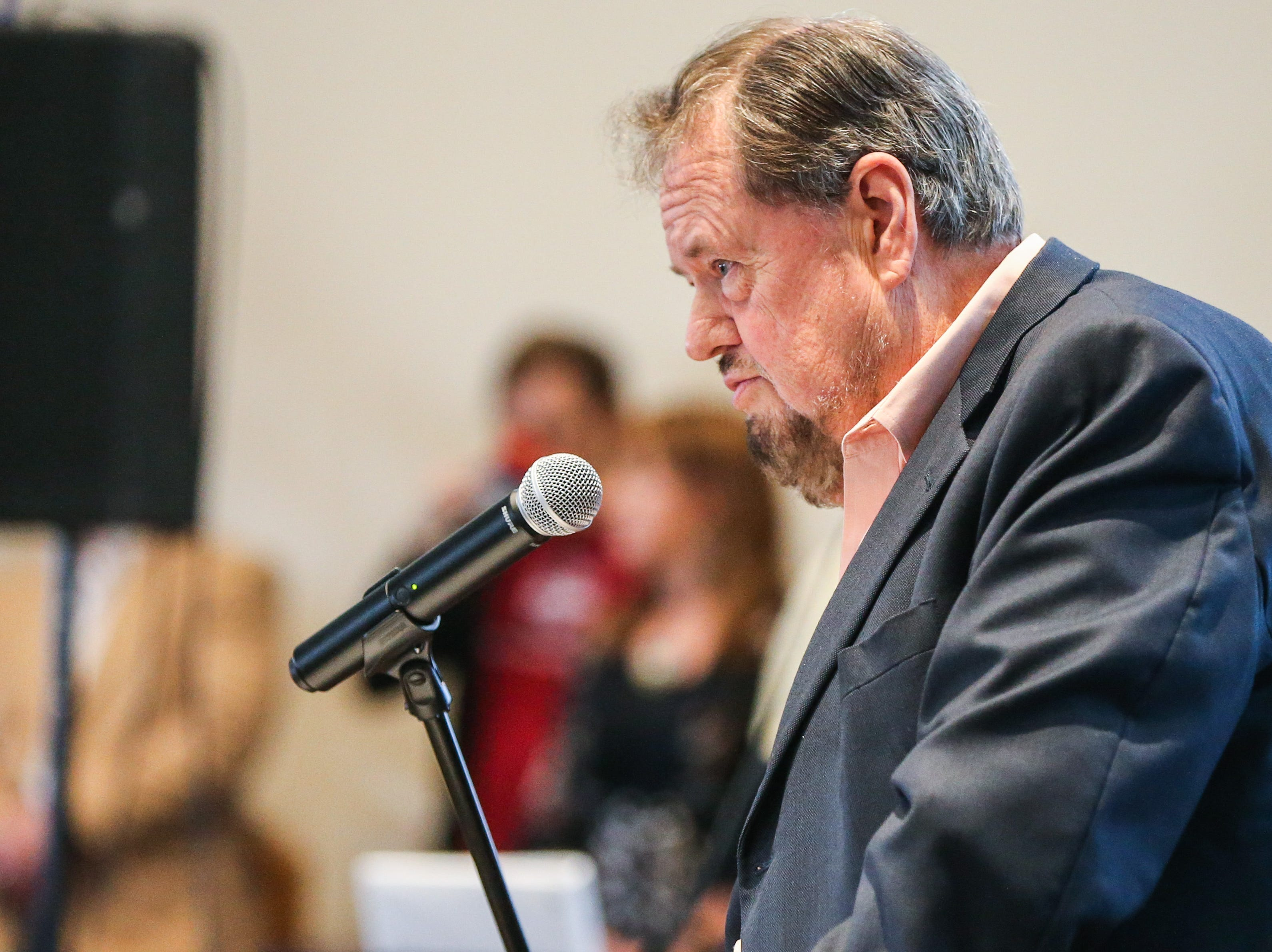 Howard Taylor speaks during the Celebration of Spirit for Roger Allen Sunday, Jan. 13, 2019, at San Angelo Museum of Fine Arts.