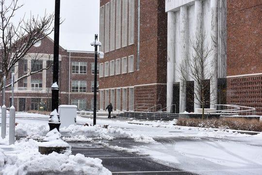 Snowfall blankets Salisbury University on Sunday, Jan. 13, 2019.