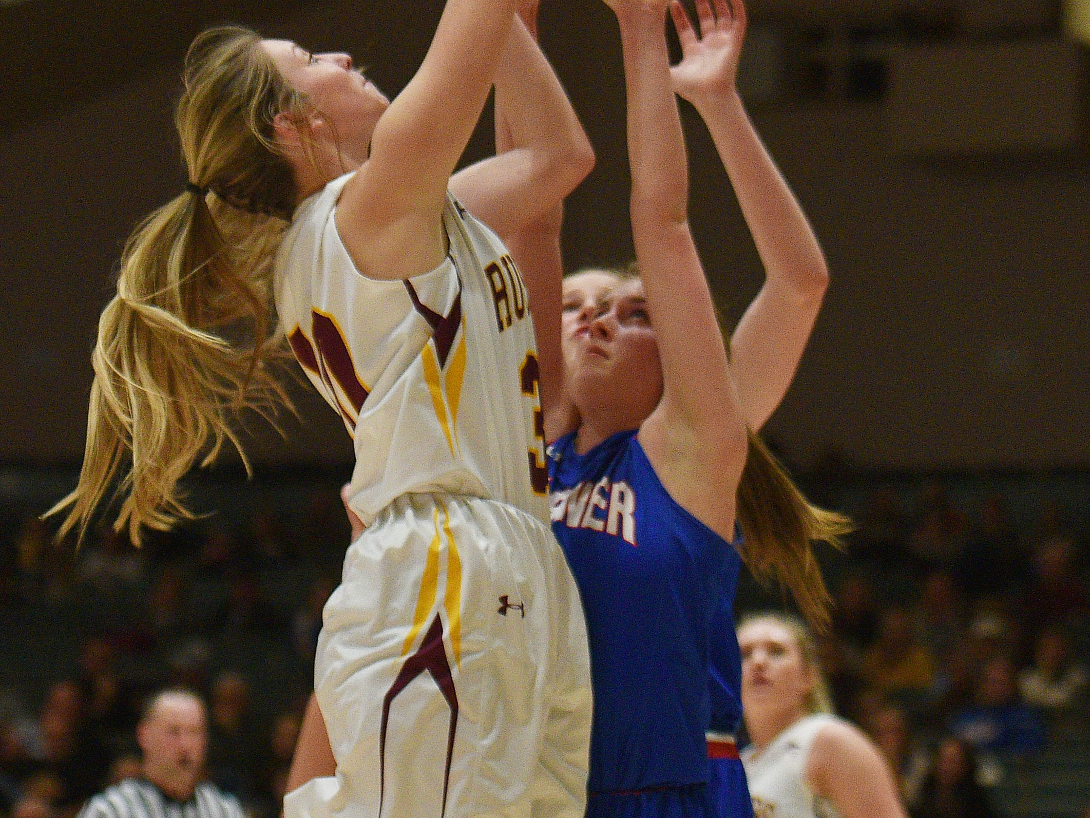 Ethan's Callie Hohn goes against Warner defense in the Hanson Girls Classic Saturday,  Jan. 12, in Mitchell.