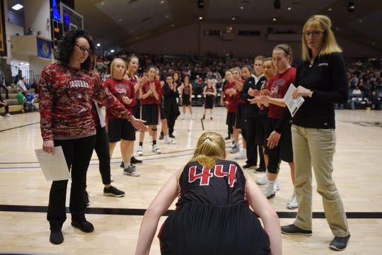 Corsica-Stickney's Rachel Gerlach prepares to take the court for the game against De Smet in the Hanson Girls Classic Saturday, Jan. 12, at the Corn Palace in Mitchell.