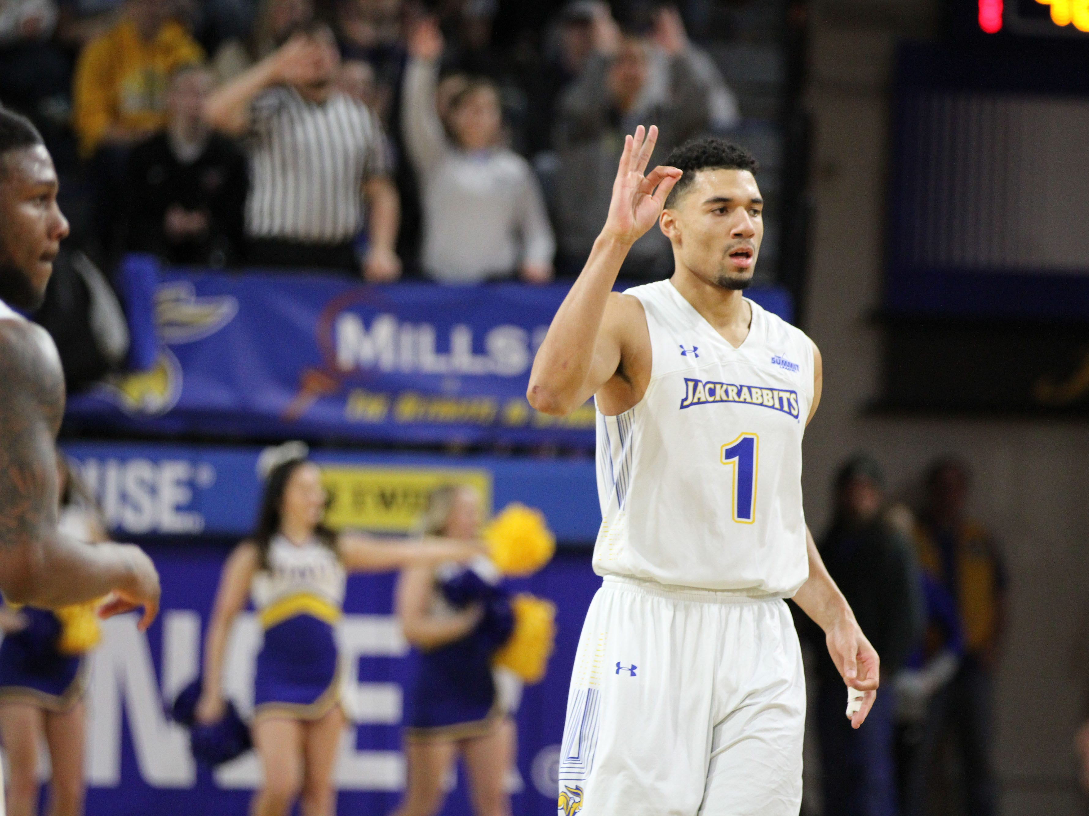 South Dakota State's Skylar Flatten (1) celebrates a made 3-pointer during the first half of the Jackrabbits' matchup with Oral Roberts Saturday afternoon at Frost Arena in Brookings.