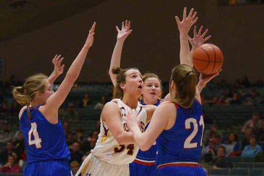 Ethan's Karly Gustafson attempts to score against Warner in the Hanson Girls Classic Saturday,  Jan. 12, in Mitchell.