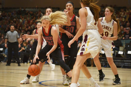 Corsica-Stickney's Avery Broughton  goes against De Smet defense in the Hanson Girls Classic Saturday, Jan. 12, at the Corn Palace in Mitchell.