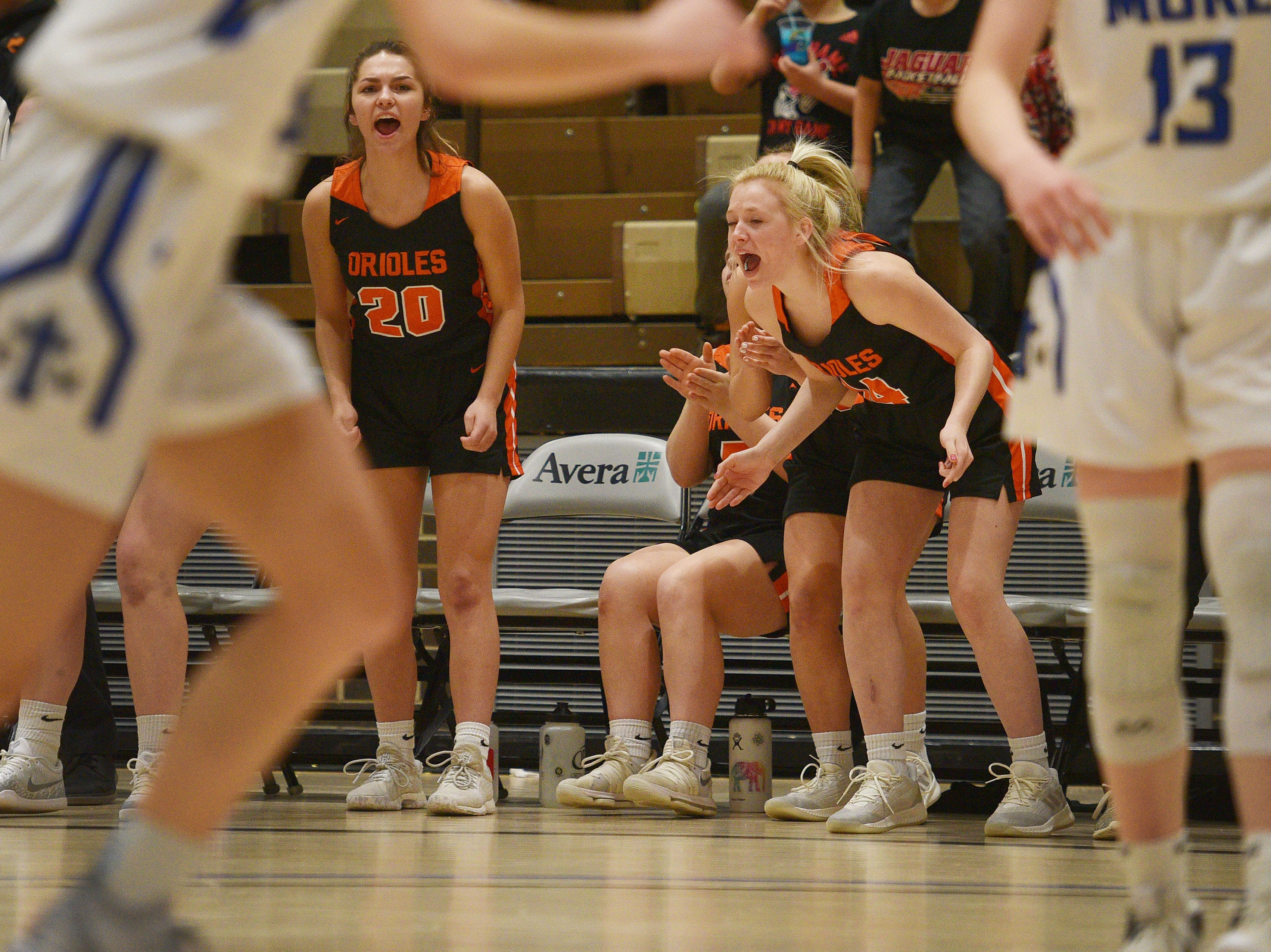Lennox celebrates during the game against St. Thomas More in the Hanson Girls Classic Saturday,  Jan. 12, in Mitchell.