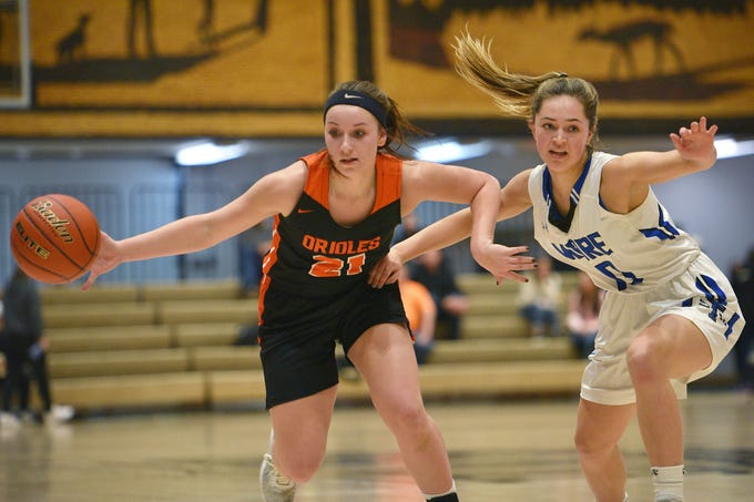Lennox's Riley Peters goes against St. Thomas More's Skylar Sullivan in the Hanson Girls Classic Saturday,  Jan. 12, in Mitchell.