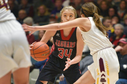 Corsica-Stickney's Avery Broughton goes against De Smet defense during the Hanson Girls Classic Saturday, Jan. 12, at the Corn Palace in Mitchell.