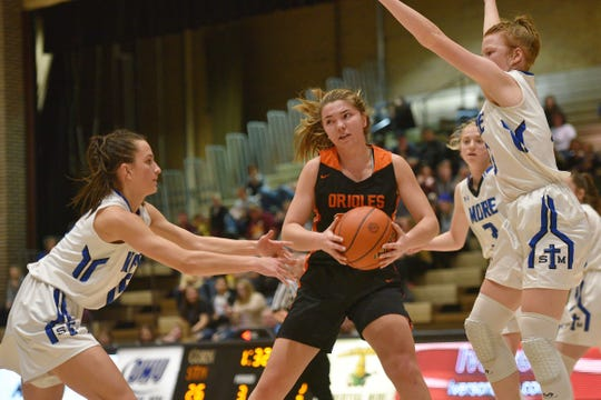 Lennox's Rianna Fillipi goes against St. Thomas More defense in the Hanson Girls Classic Saturday,  Jan. 12, in Mitchell.